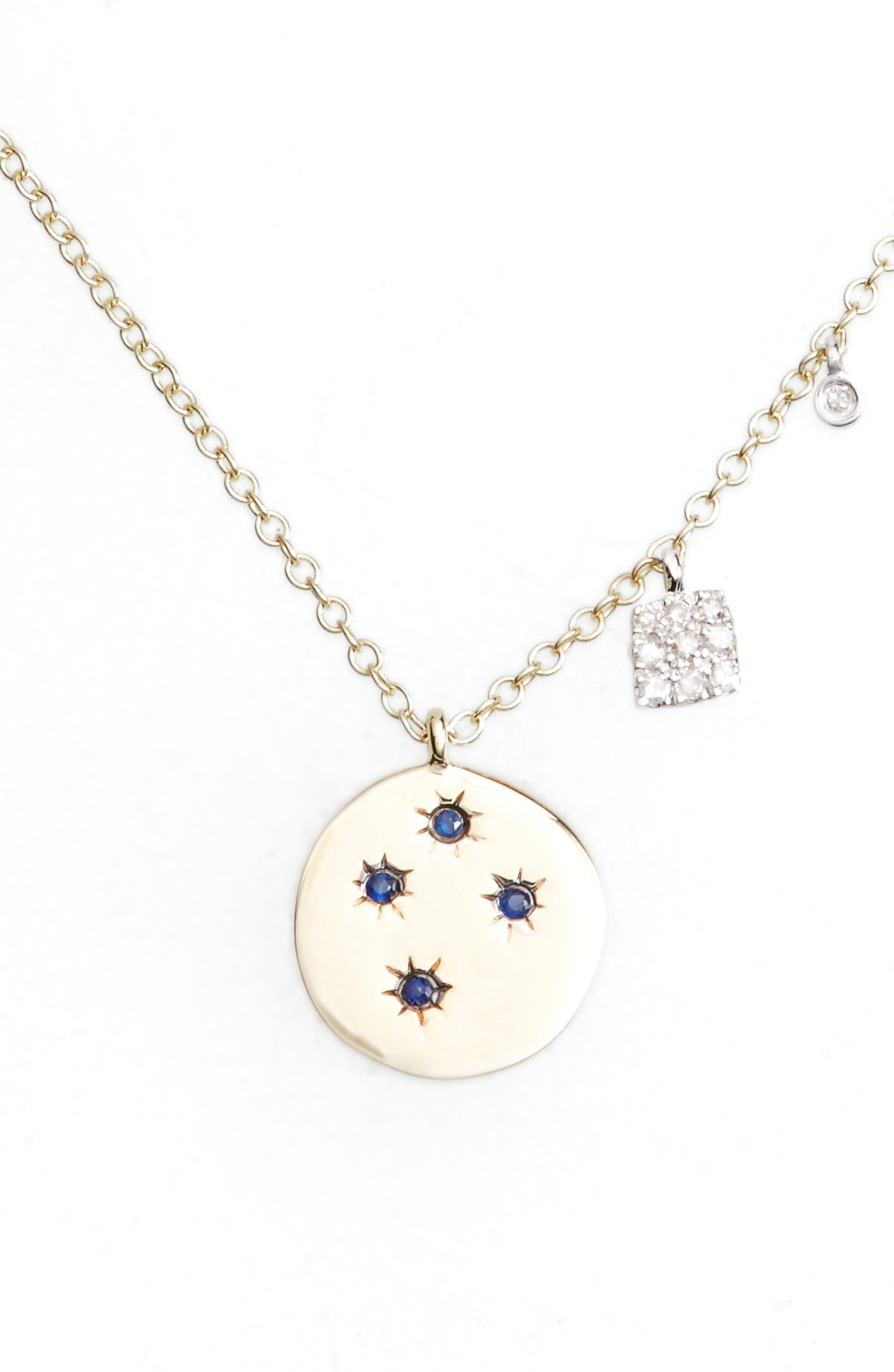 Diamond & Gemstone Pendant Necklace,                         Main,                         color, YELLOW GOLD/ BLUE SAPPHIRE