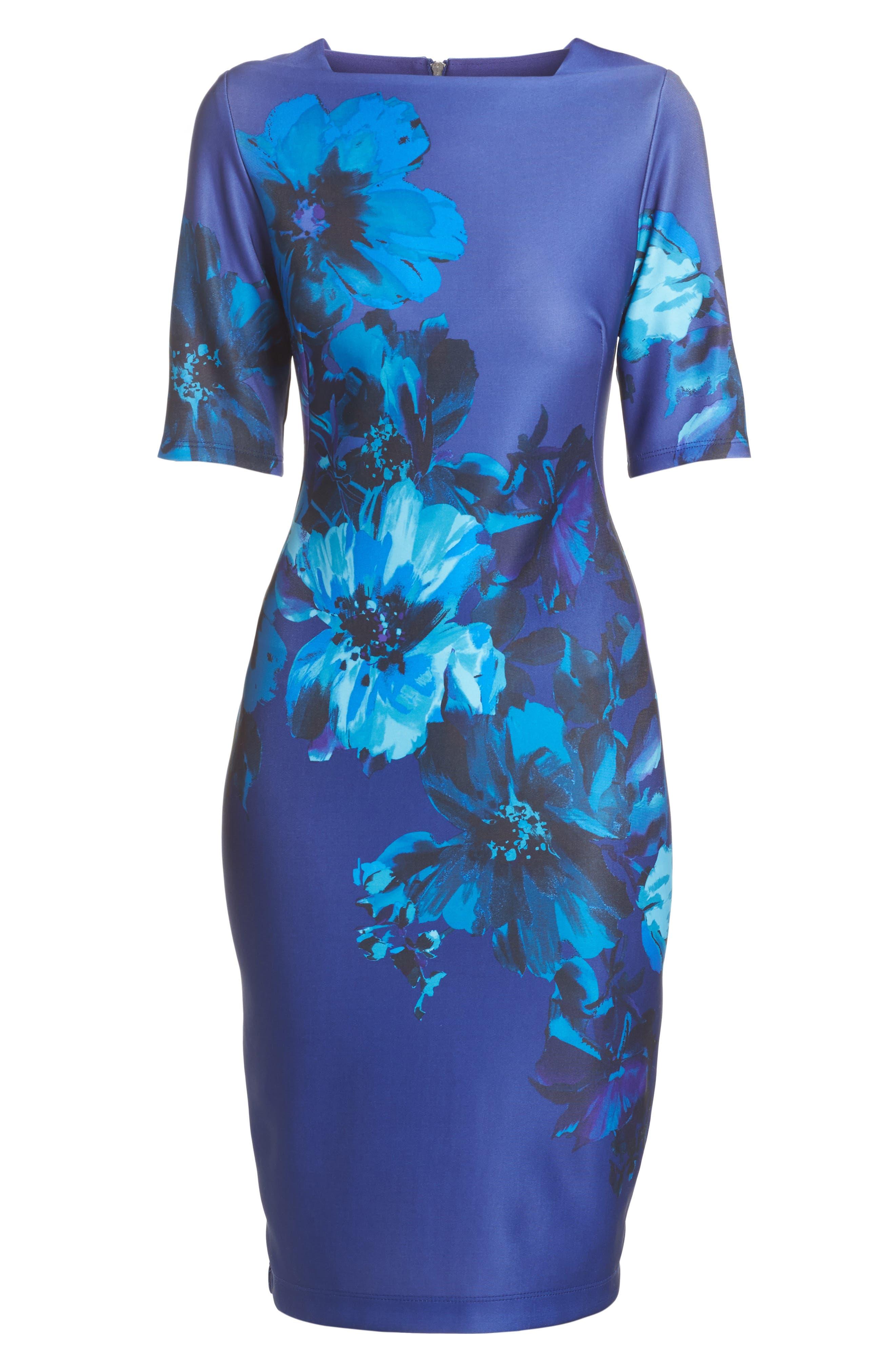 Floral Print Scuba Sheath Dress,                             Alternate thumbnail 6, color,                             453
