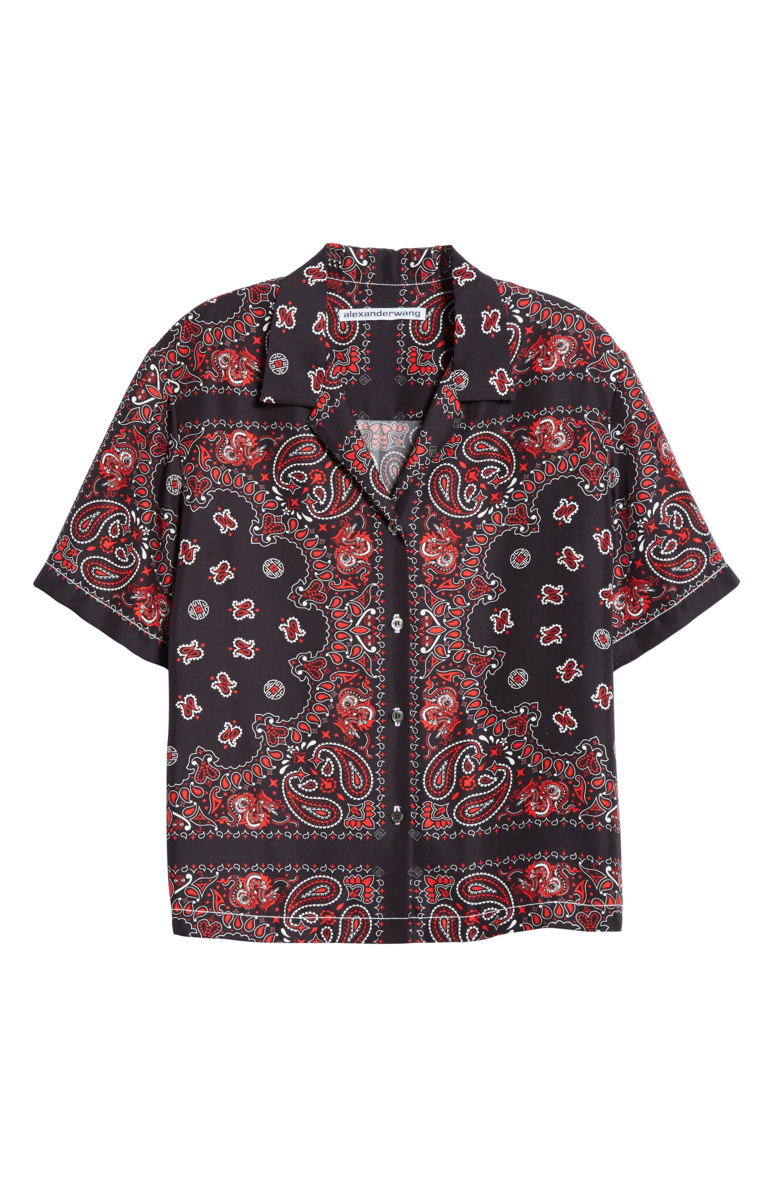 ALEXANDER WANG,                             Bandana Print Silk Shirt,                             Alternate thumbnail 7, color,                             BLACK/ RED