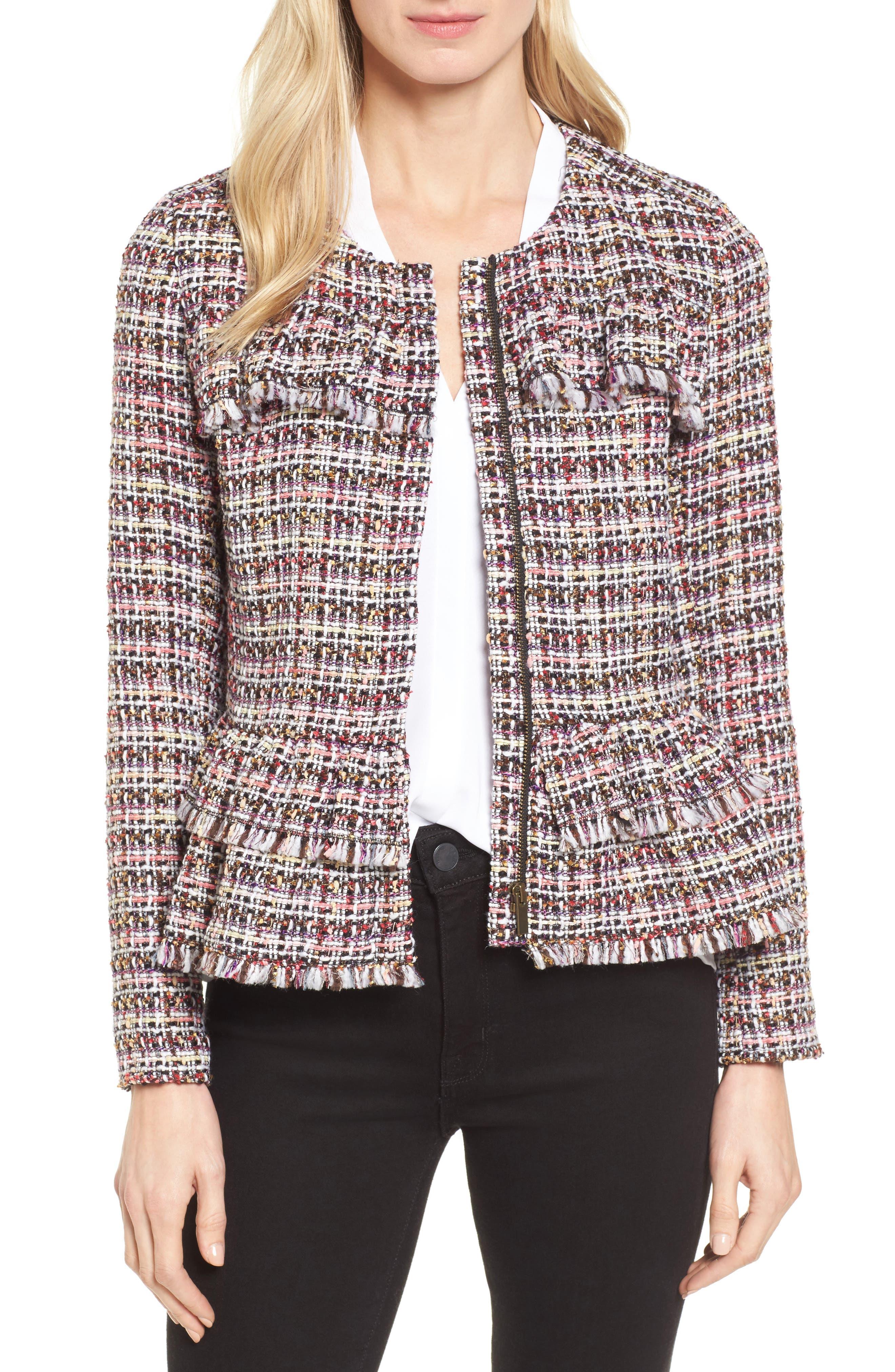 Ruffle Detail Tweed Jacket,                             Main thumbnail 1, color,                             660