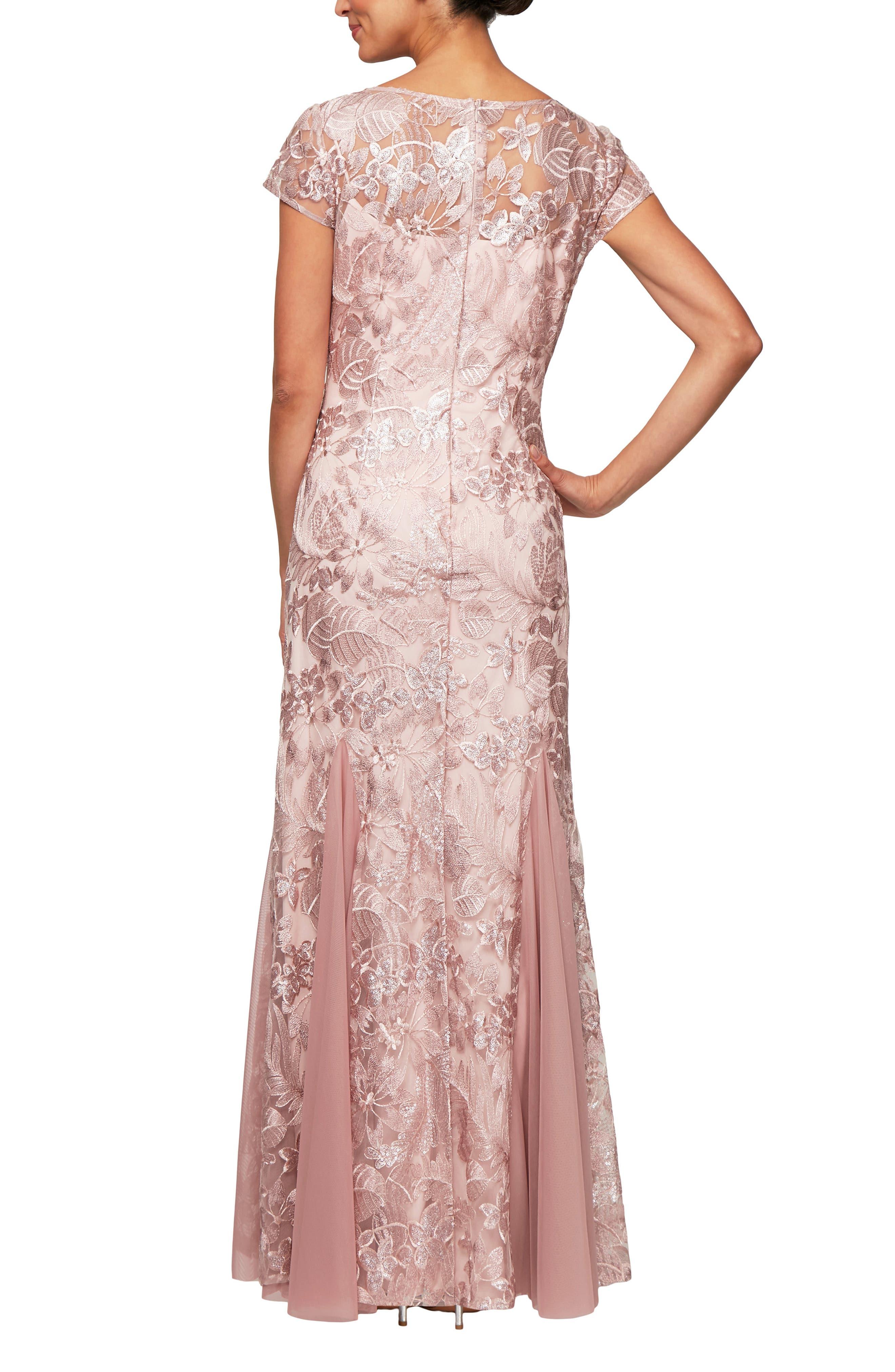ALEX EVENINGS,                             V-Neck Embroidered Evening Dress,                             Alternate thumbnail 2, color,                             BLOSSOM