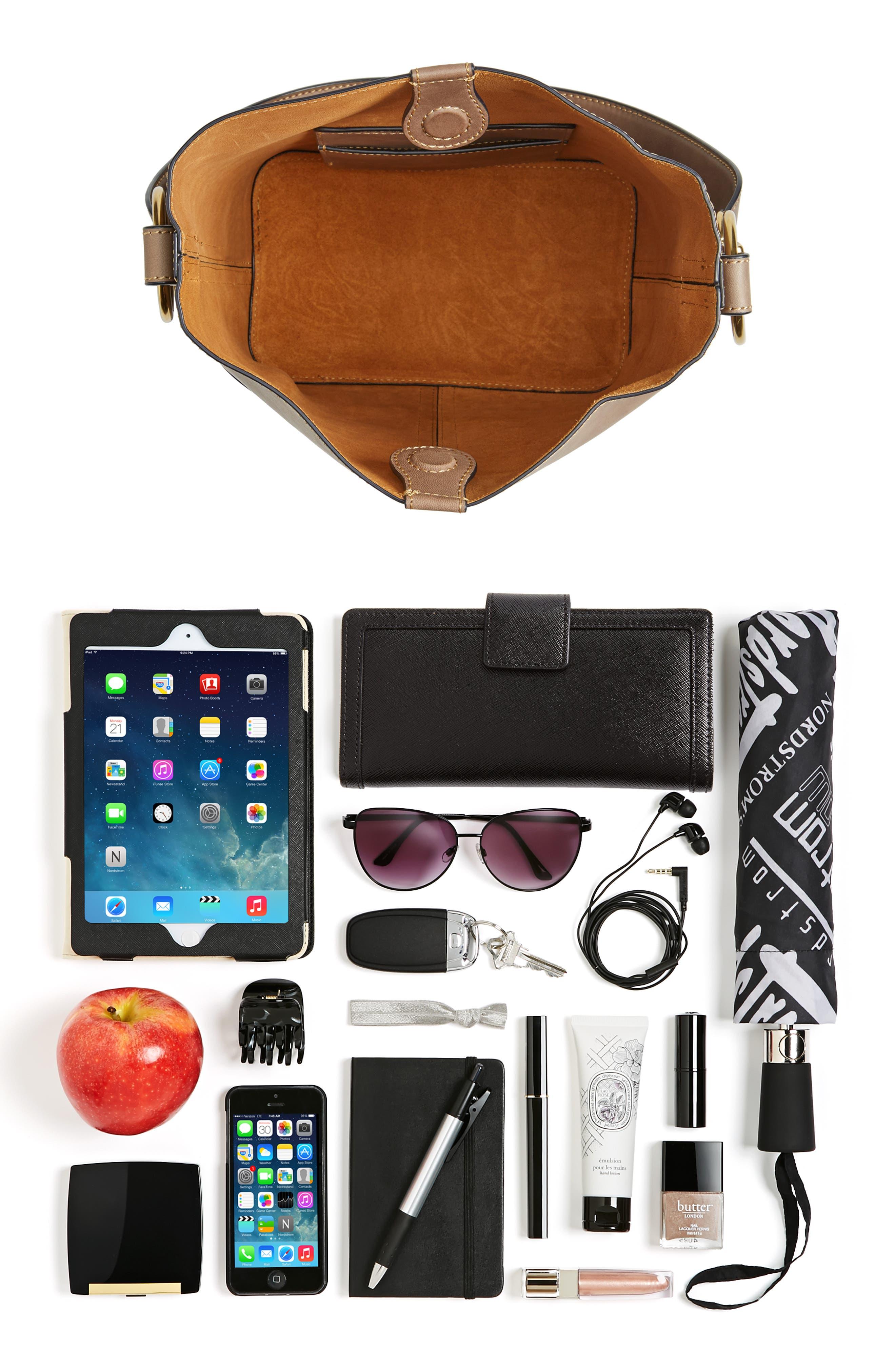 Ilana Leather Bucket Bag,                             Alternate thumbnail 7, color,                             030
