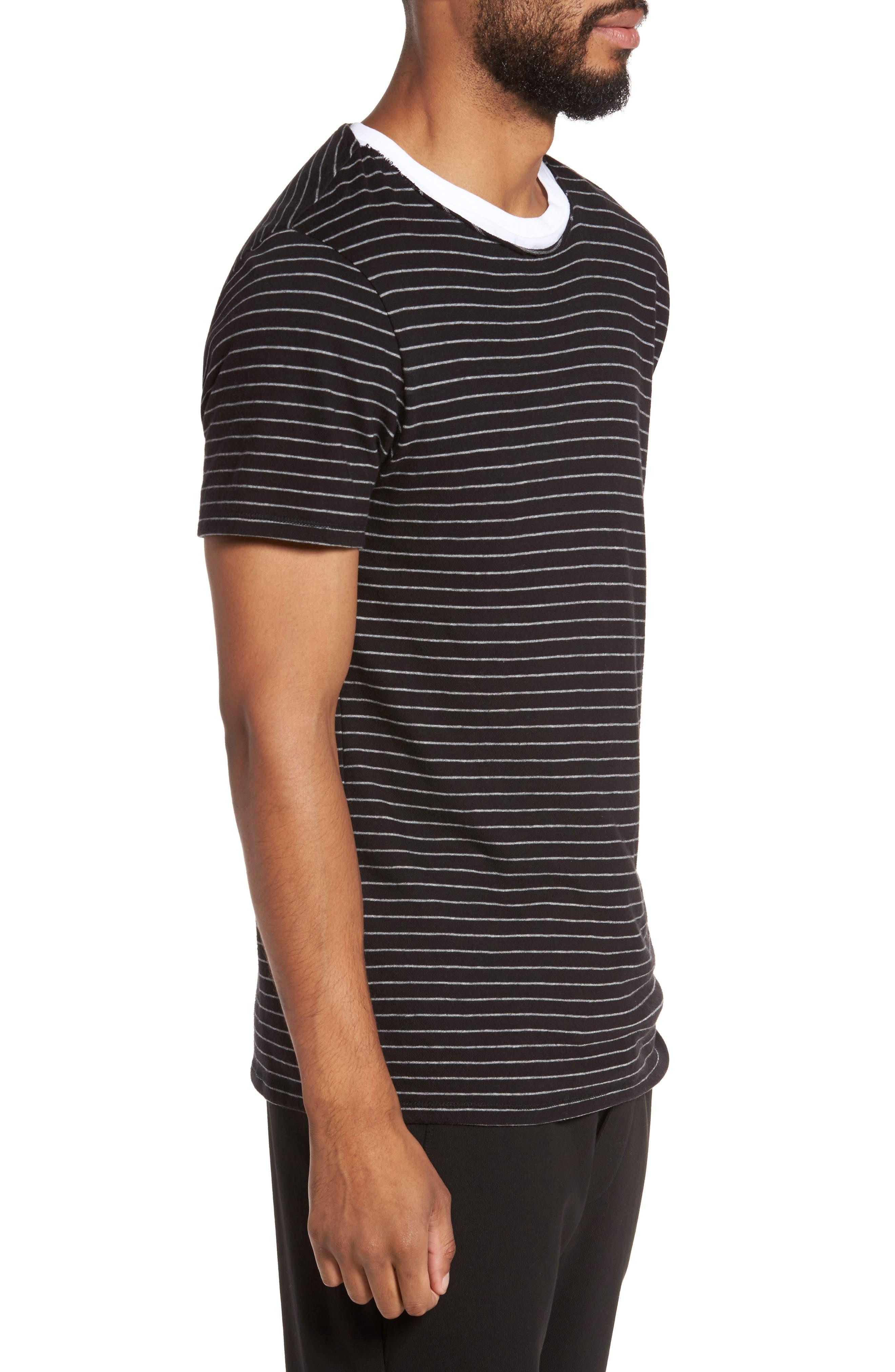 Raw Edge Stripe T-Shirt,                             Alternate thumbnail 3, color,                             002