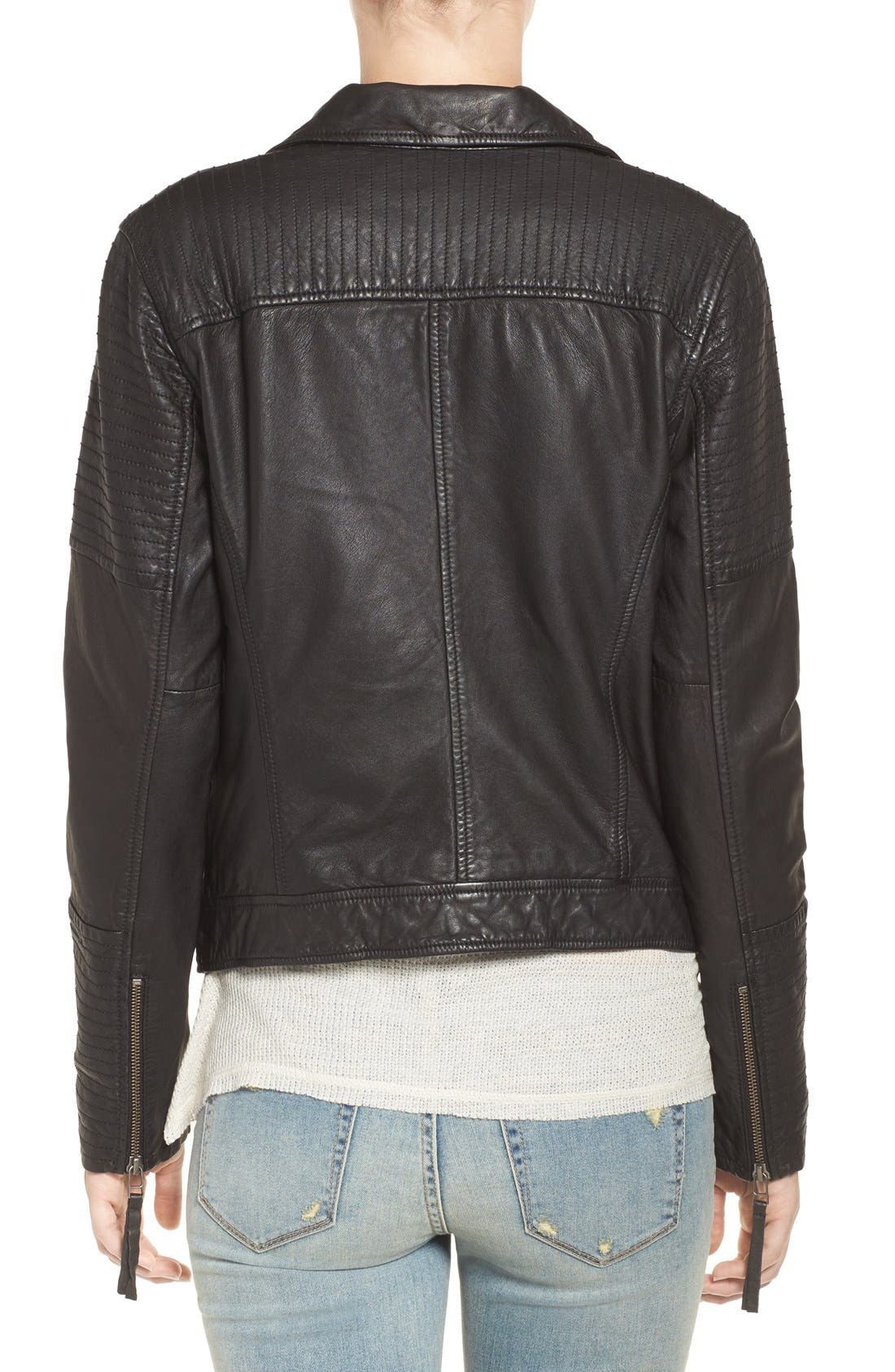 Quilted Leather Moto Jacket,                             Alternate thumbnail 10, color,                             001