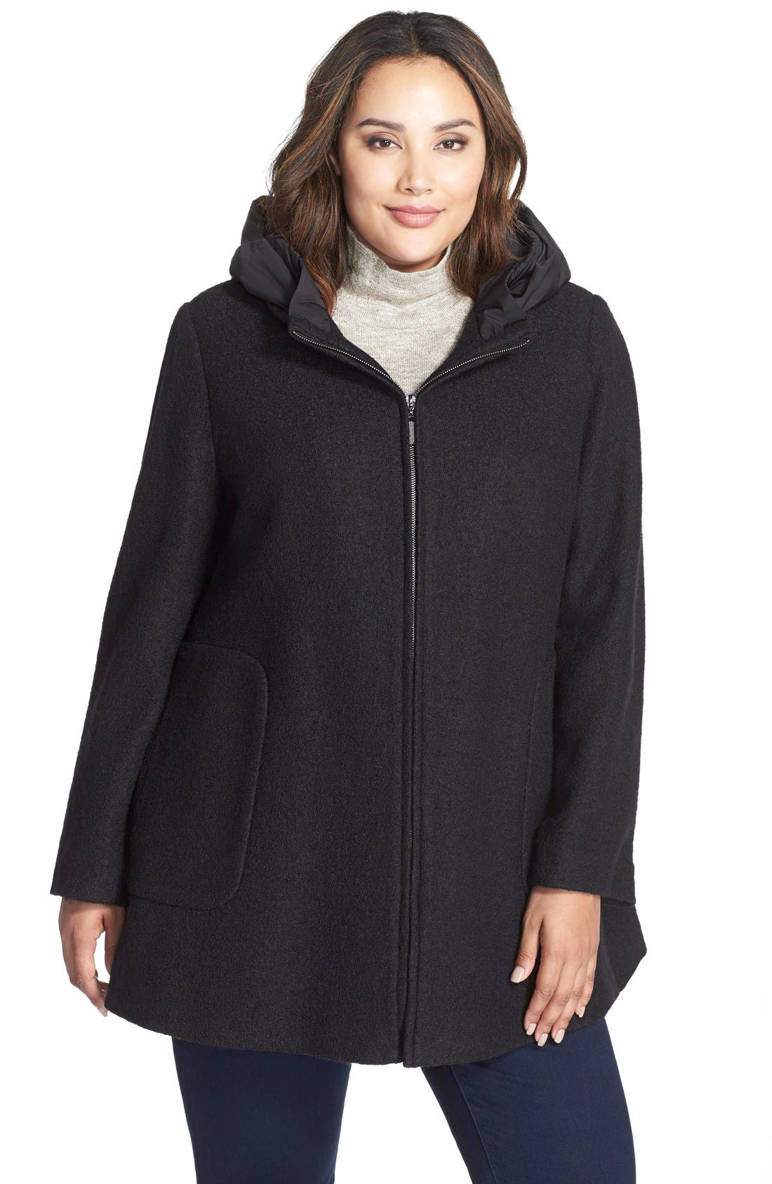 Hooded Boiled Wool Blend Swing Coat,                             Main thumbnail 1, color,