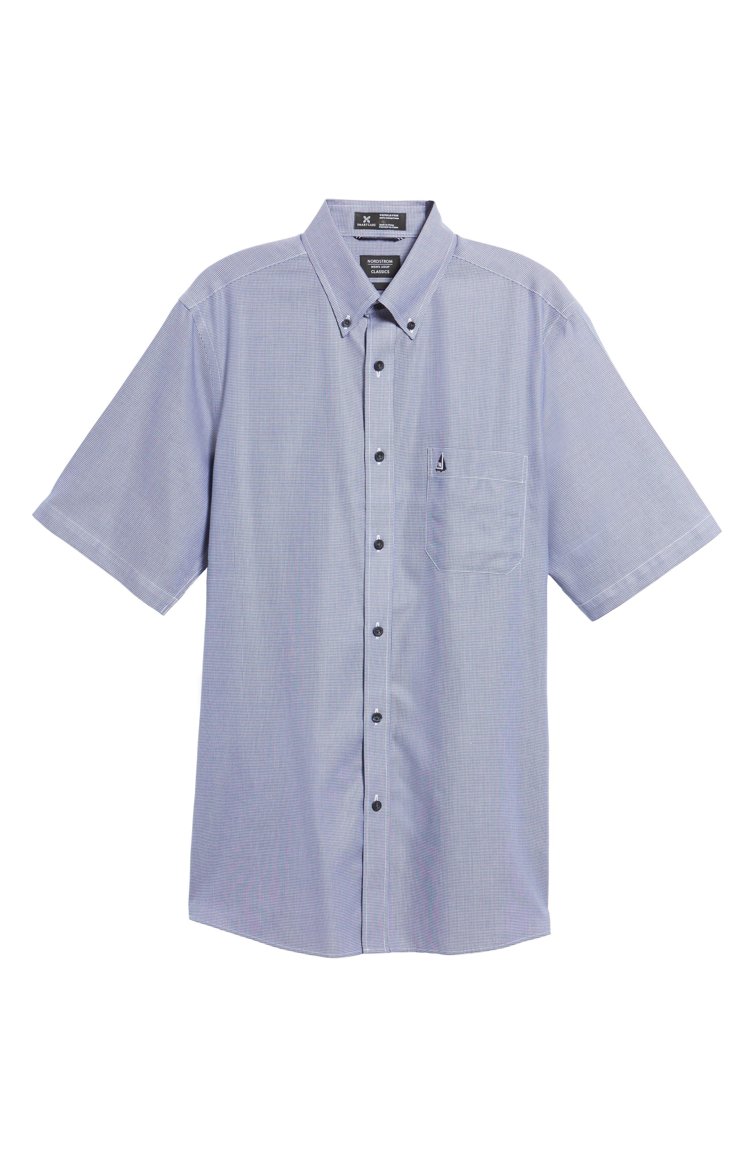 'Classic' Smartcare<sup>™</sup> Regular Fit Short Sleeve Cotton Sport Shirt,                             Alternate thumbnail 99, color,