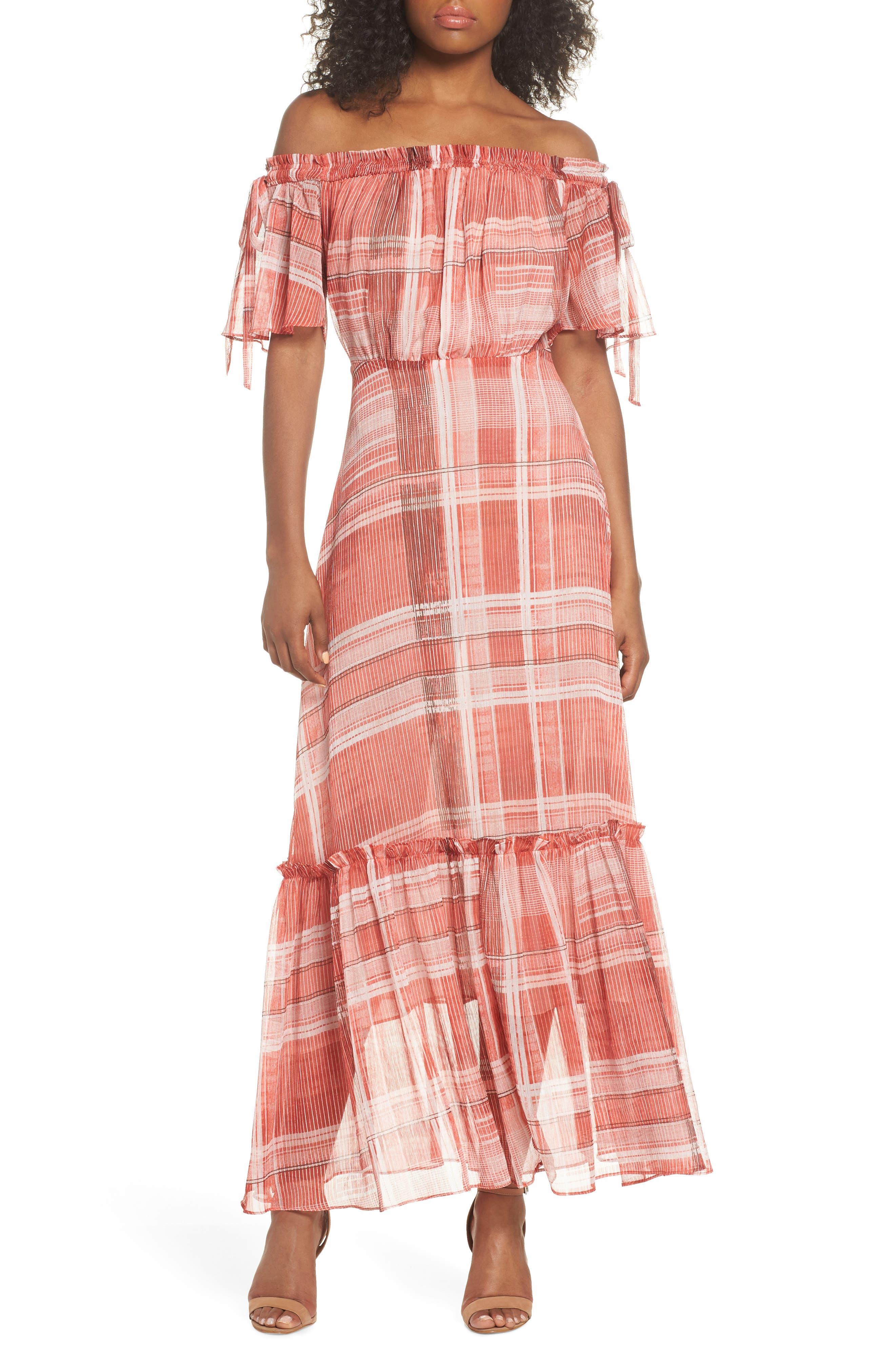Plaid Off the Shoulder Maxi Dress,                             Alternate thumbnail 6, color,                             643