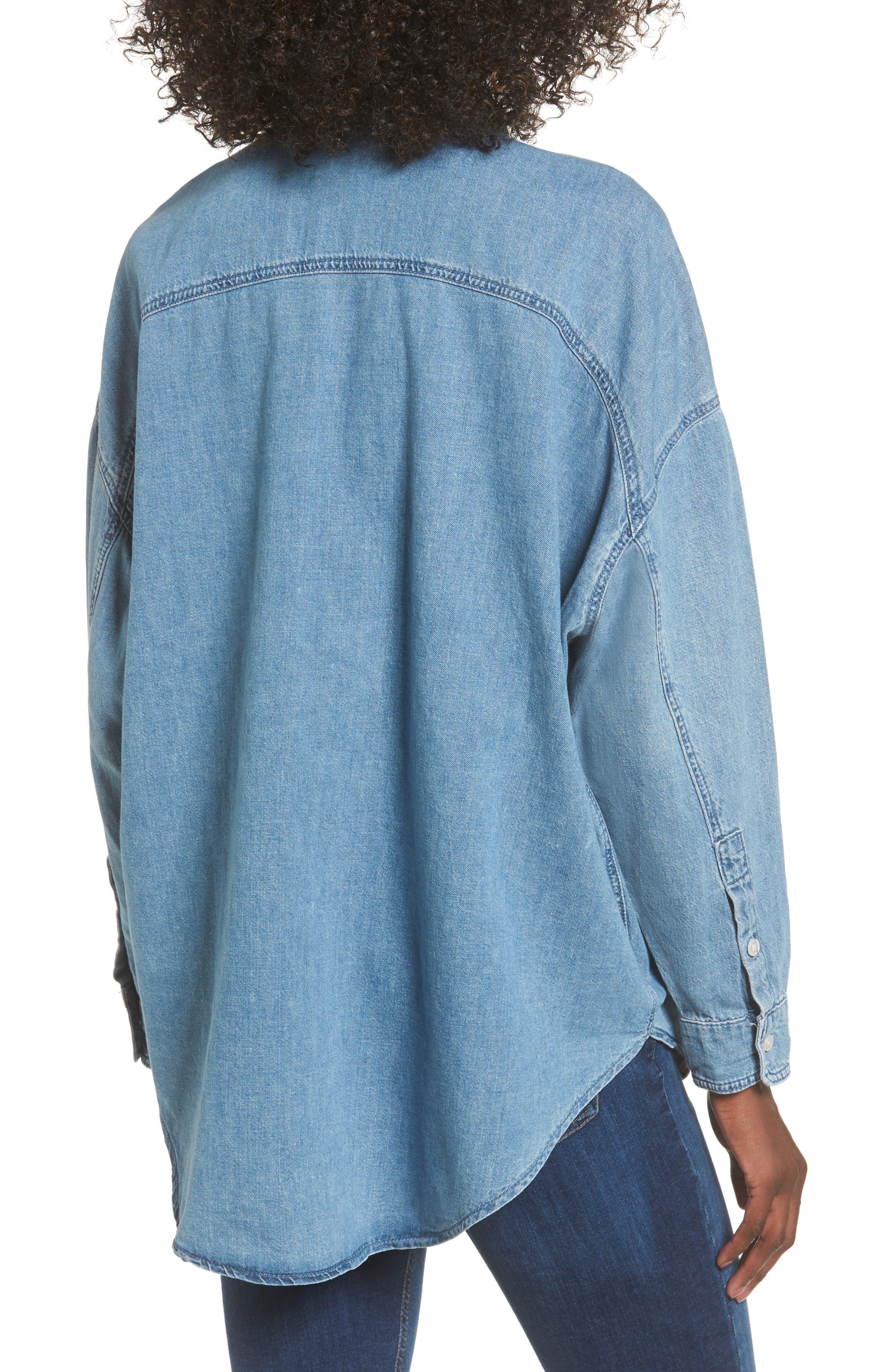Elton Oversized Denim Shirt,                             Alternate thumbnail 2, color,