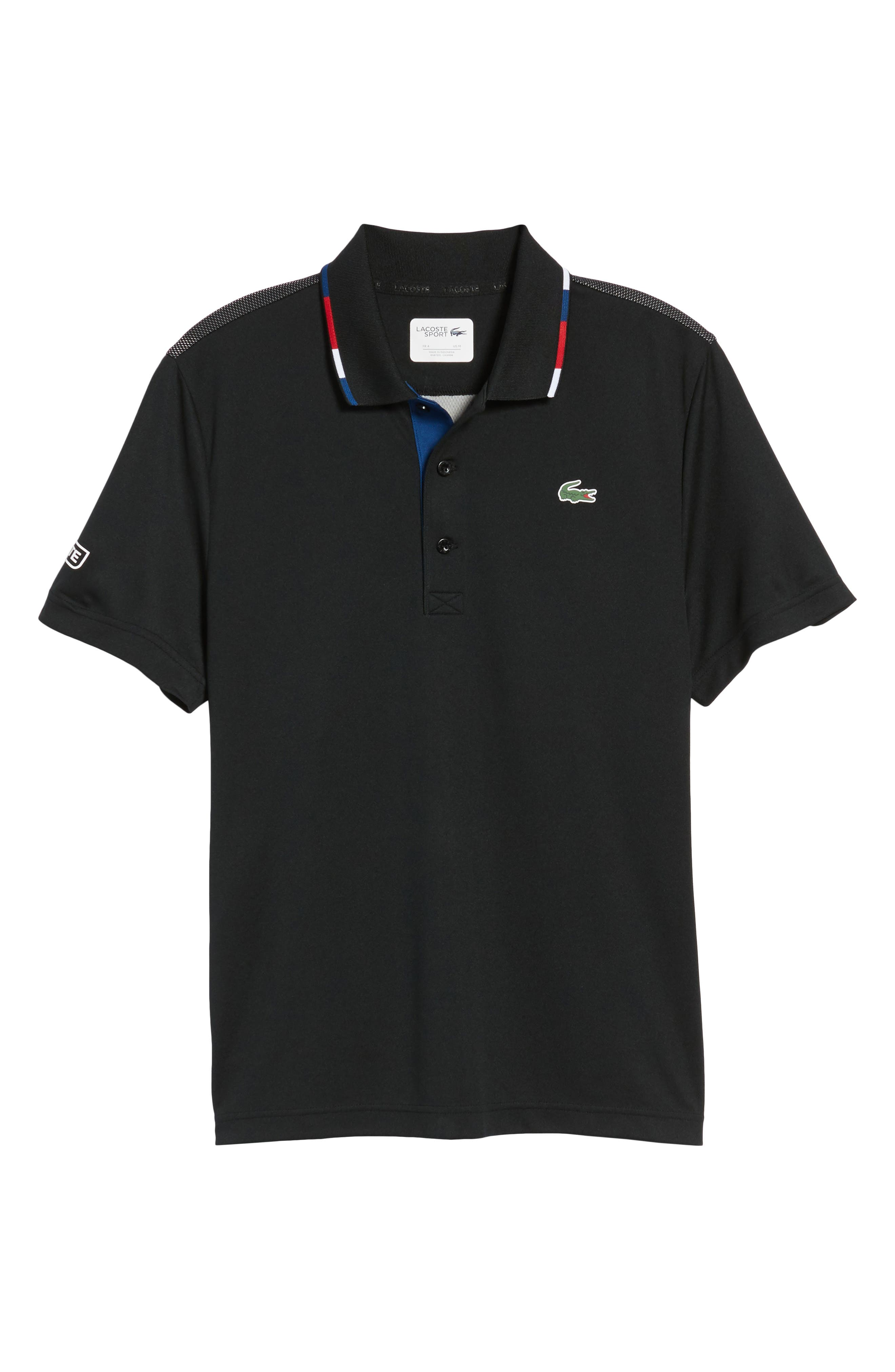 Sport Piped Piqué Tech Polo,                             Alternate thumbnail 6, color,                             BLACK/ RED-MARINO-WHITE