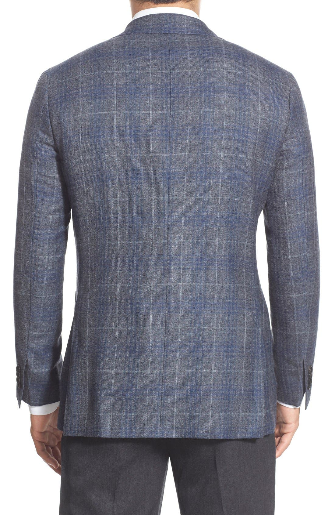 CANALI,                             Classic Fit Plaid Wool Sport Coat,                             Alternate thumbnail 3, color,                             030