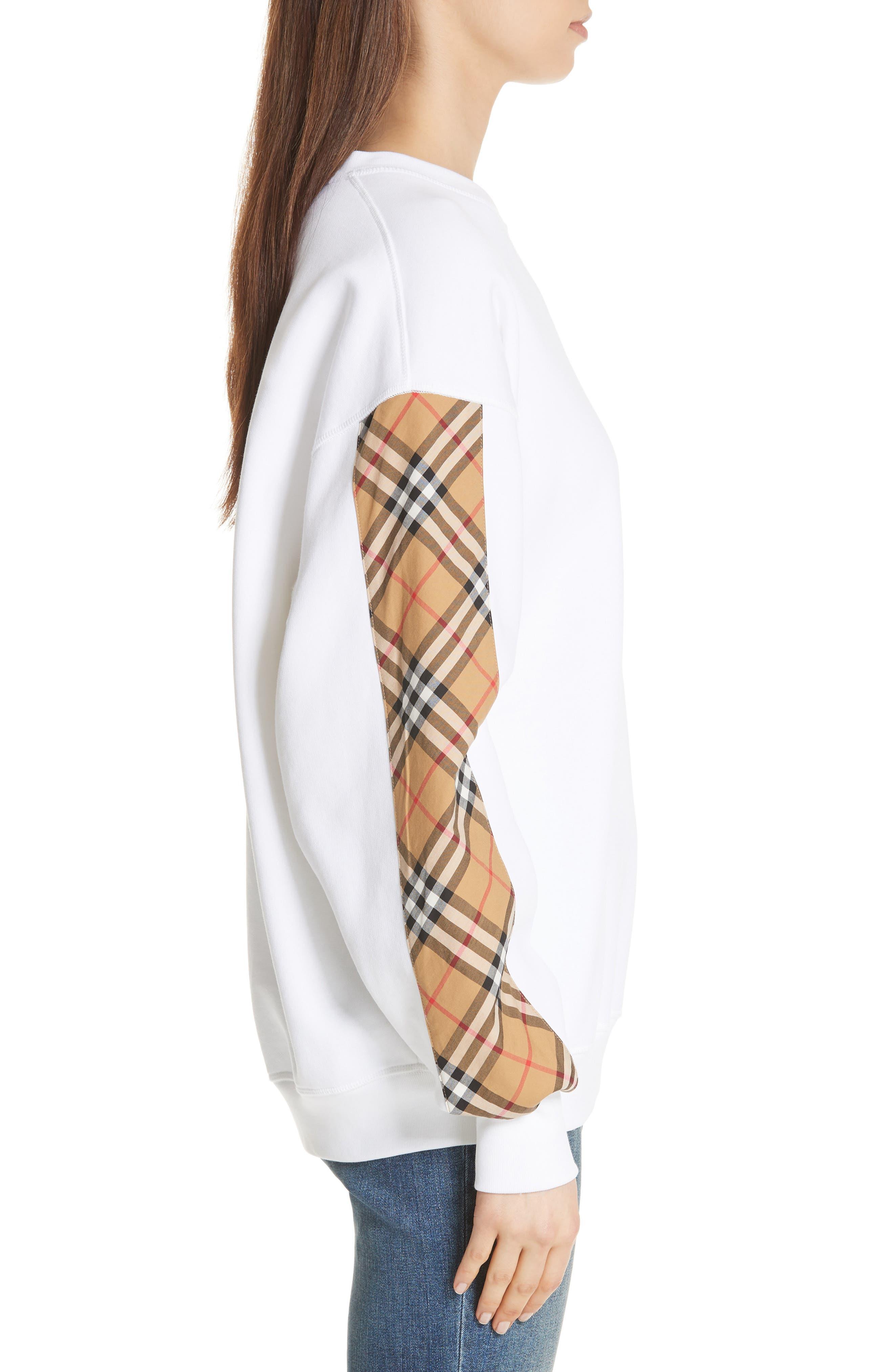 Bronx Check Sleeve Sweatshirt,                             Alternate thumbnail 3, color,                             WHITE