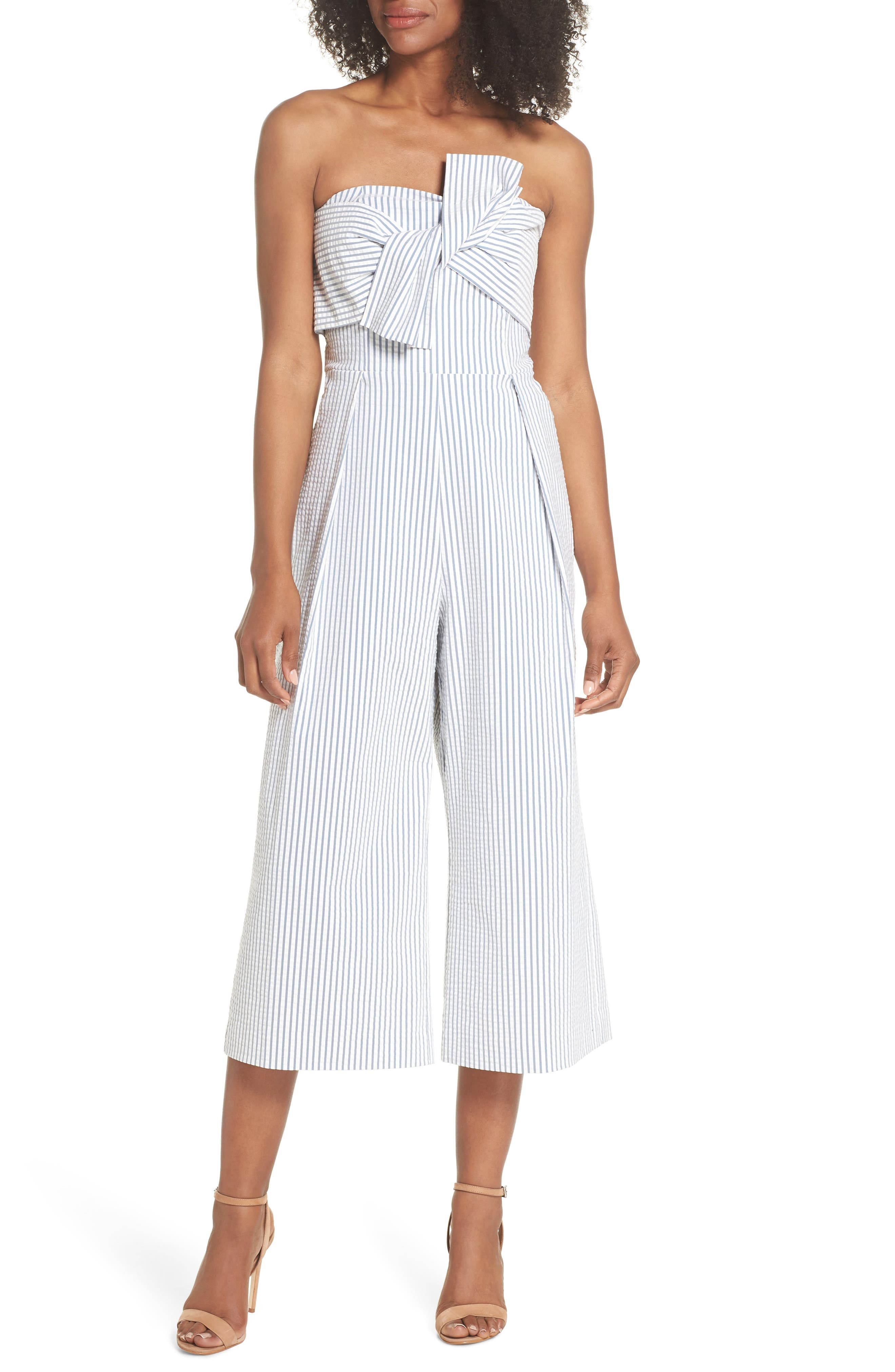 Twist Front Seersucker Crop Jumpsuit,                         Main,                         color, BLUE/ WHITE STRIPE
