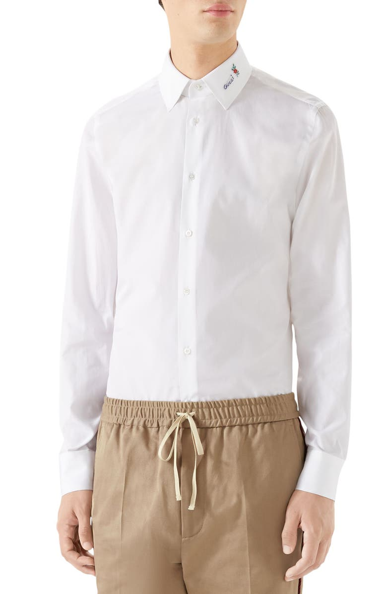 Gucci Mens Logo Embroidered Collar Poplin Sport Shirt In White