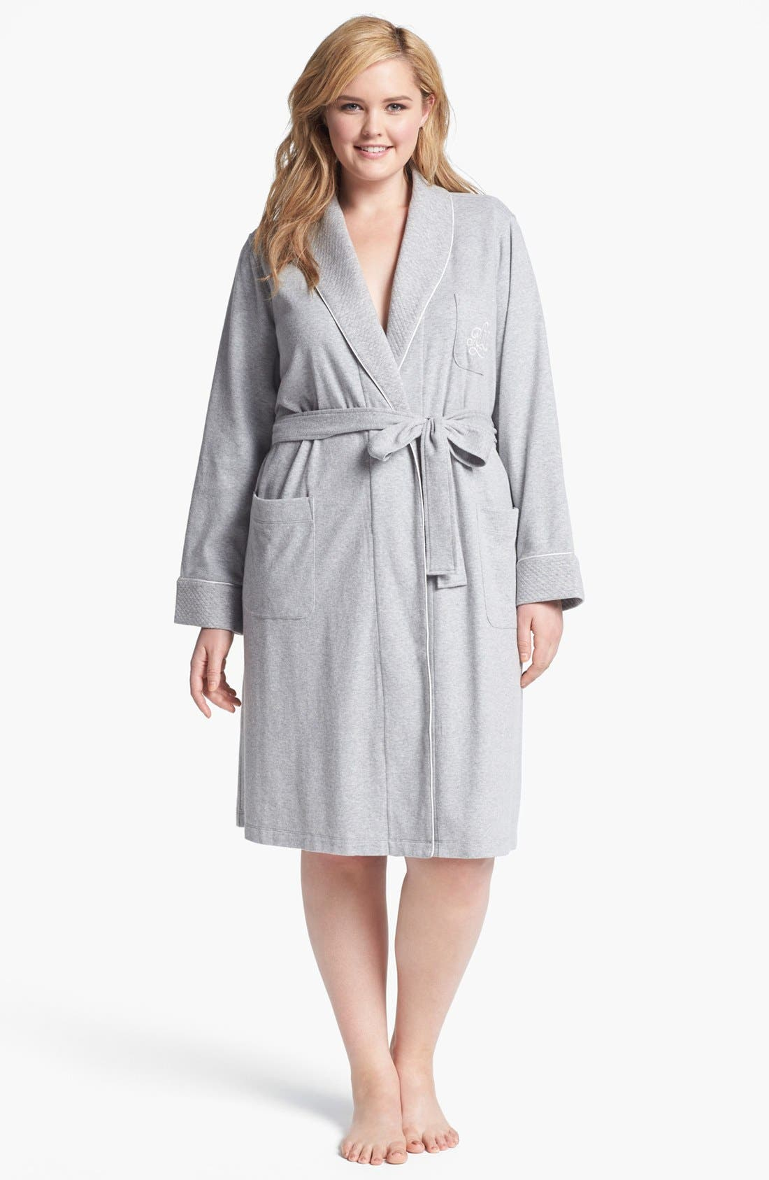 Shawl Collar Robe,                             Main thumbnail 1, color,                             HEATHER GREY