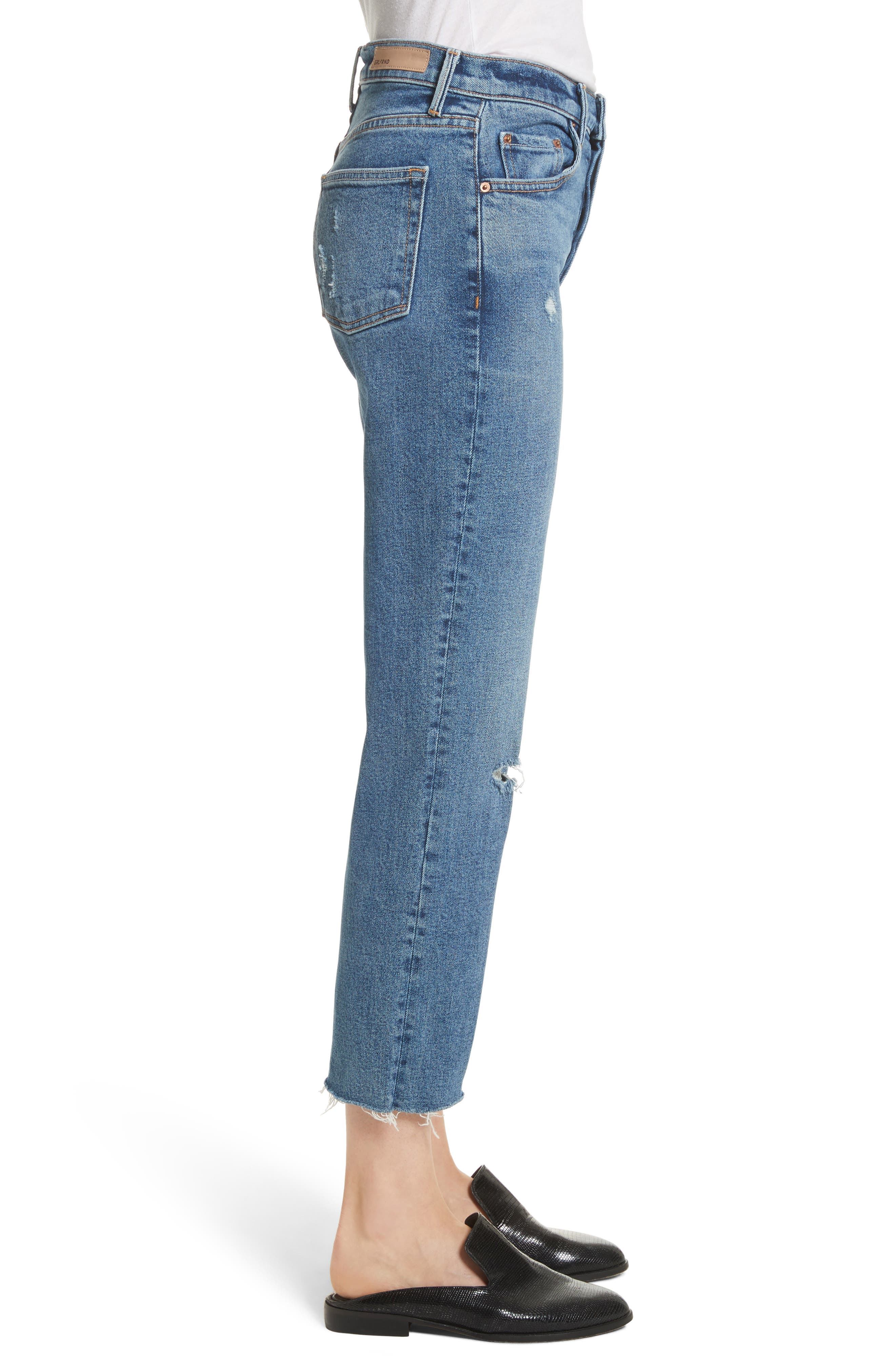 Helena Distressed Rigid High Waist Straight Jeans,                             Alternate thumbnail 3, color,                             470