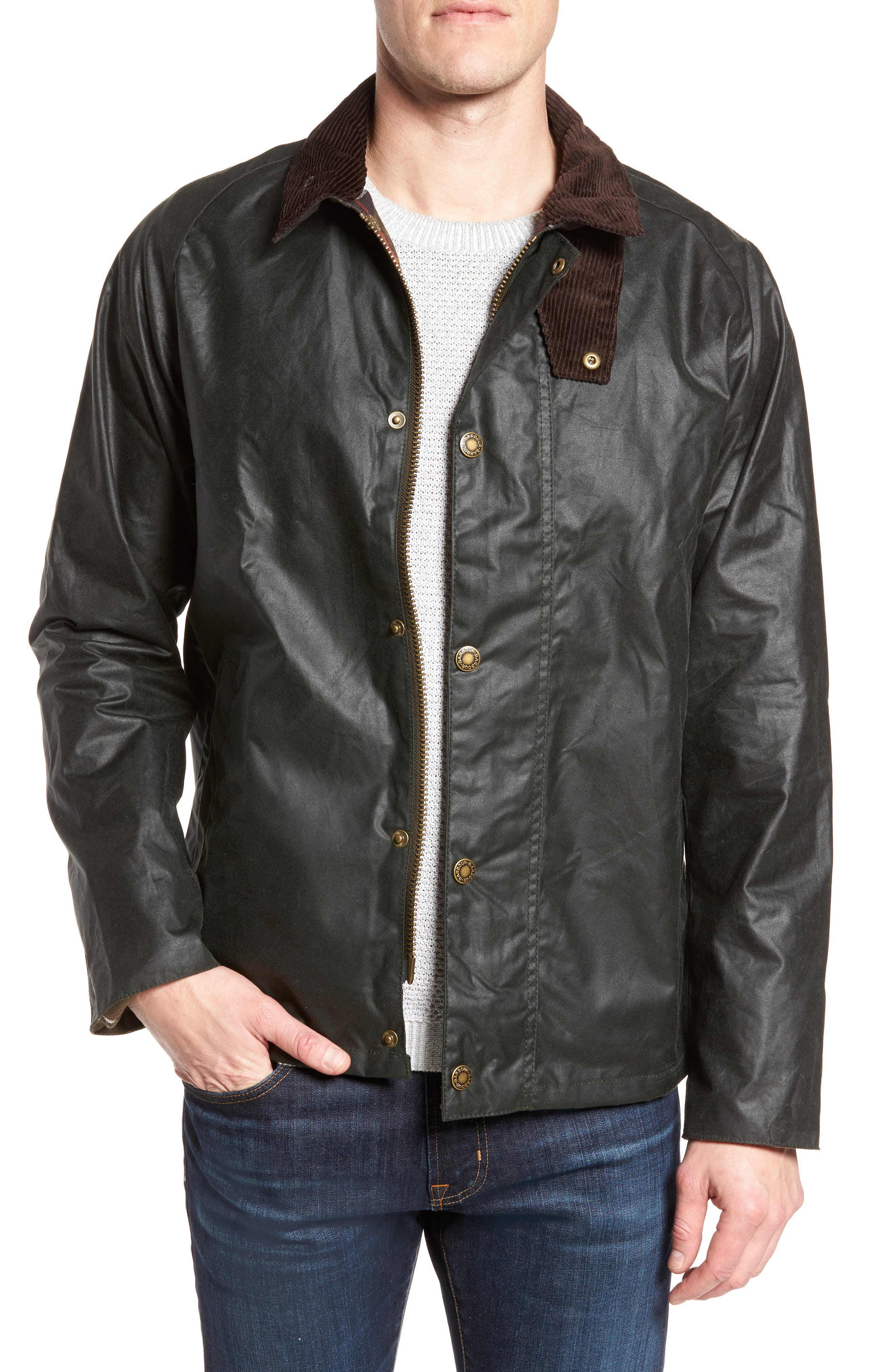 Barbour Heskin Waxed Cotton Jacket, Green
