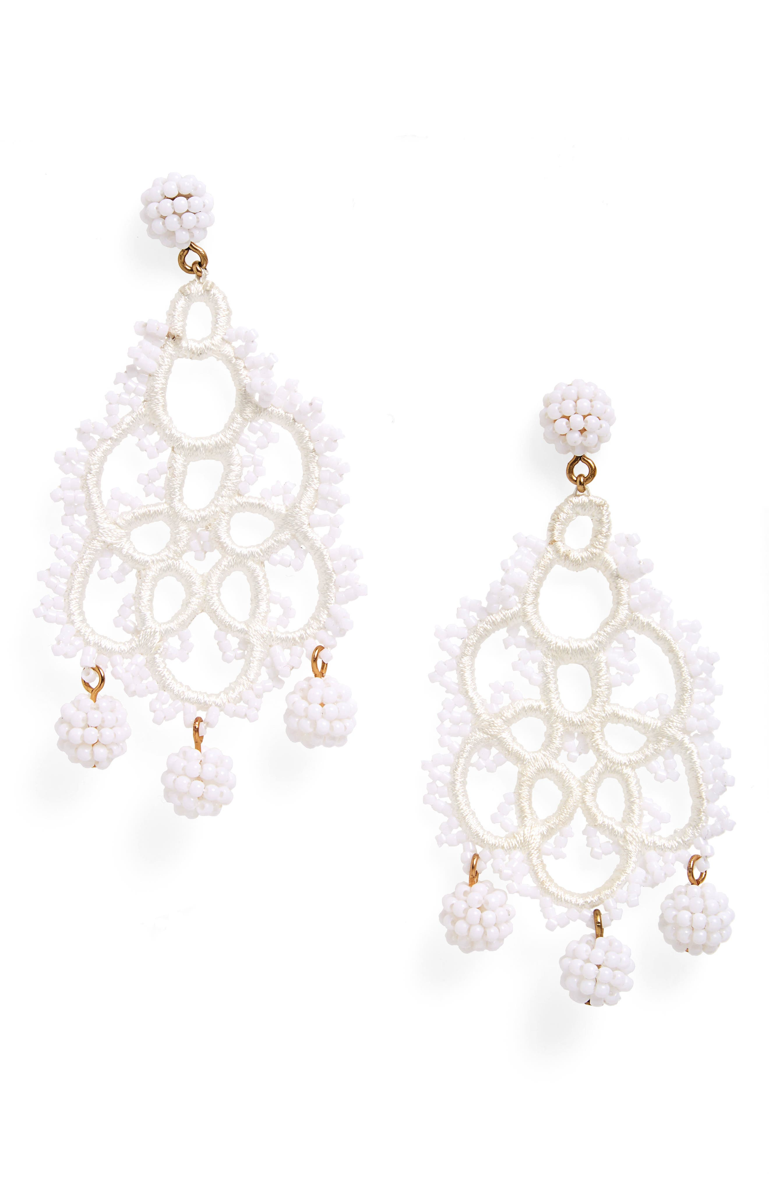 Bead & Embroidery Earrings,                         Main,                         color, 100