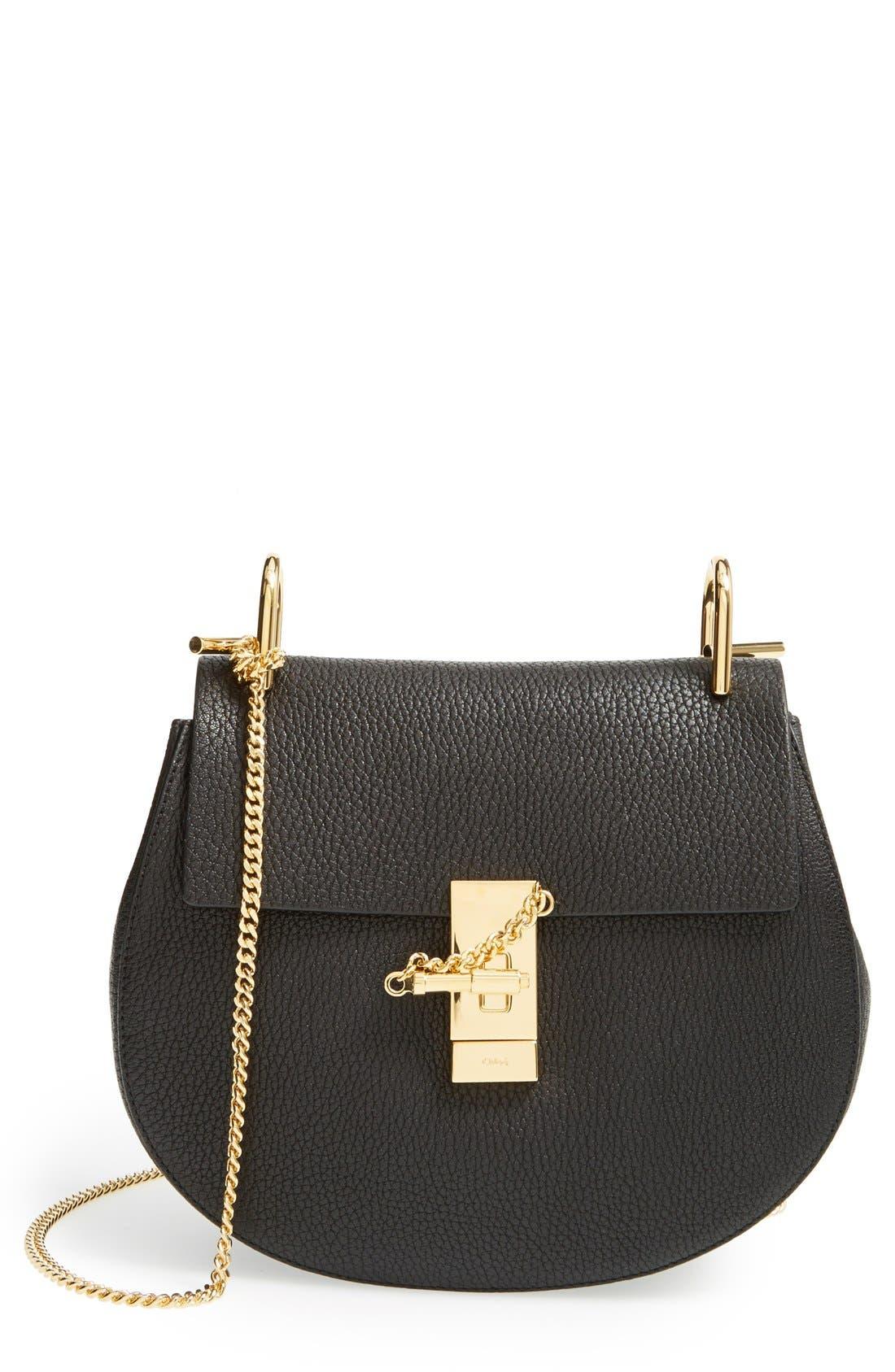 Drew Leather Shoulder Bag,                             Main thumbnail 1, color,                             BLACK GOLD HRDWRE