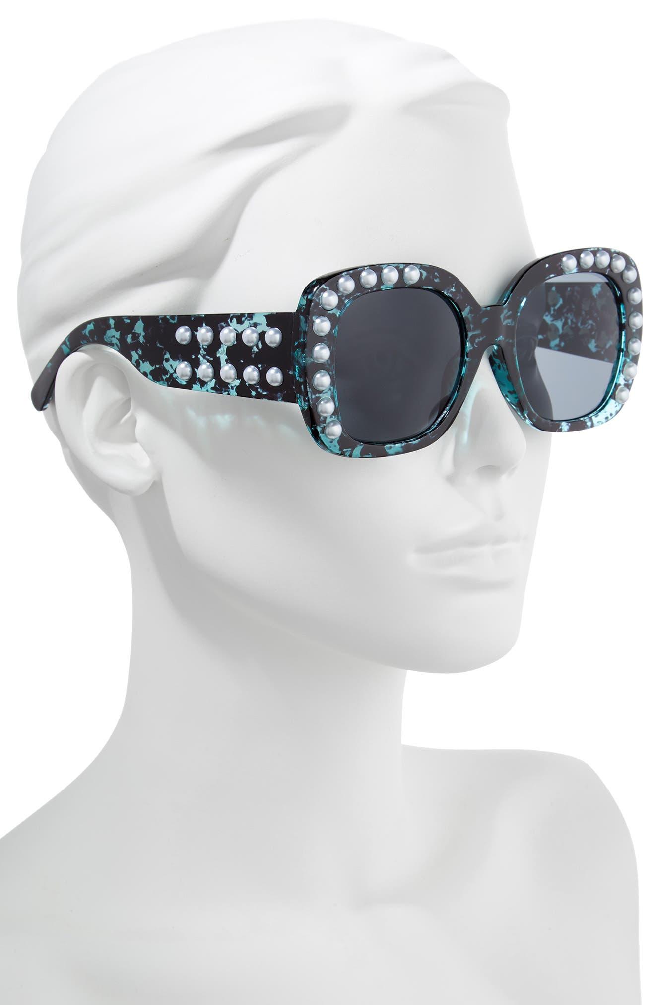53mm Imitation Pearl Sunglasses,                             Alternate thumbnail 6, color,