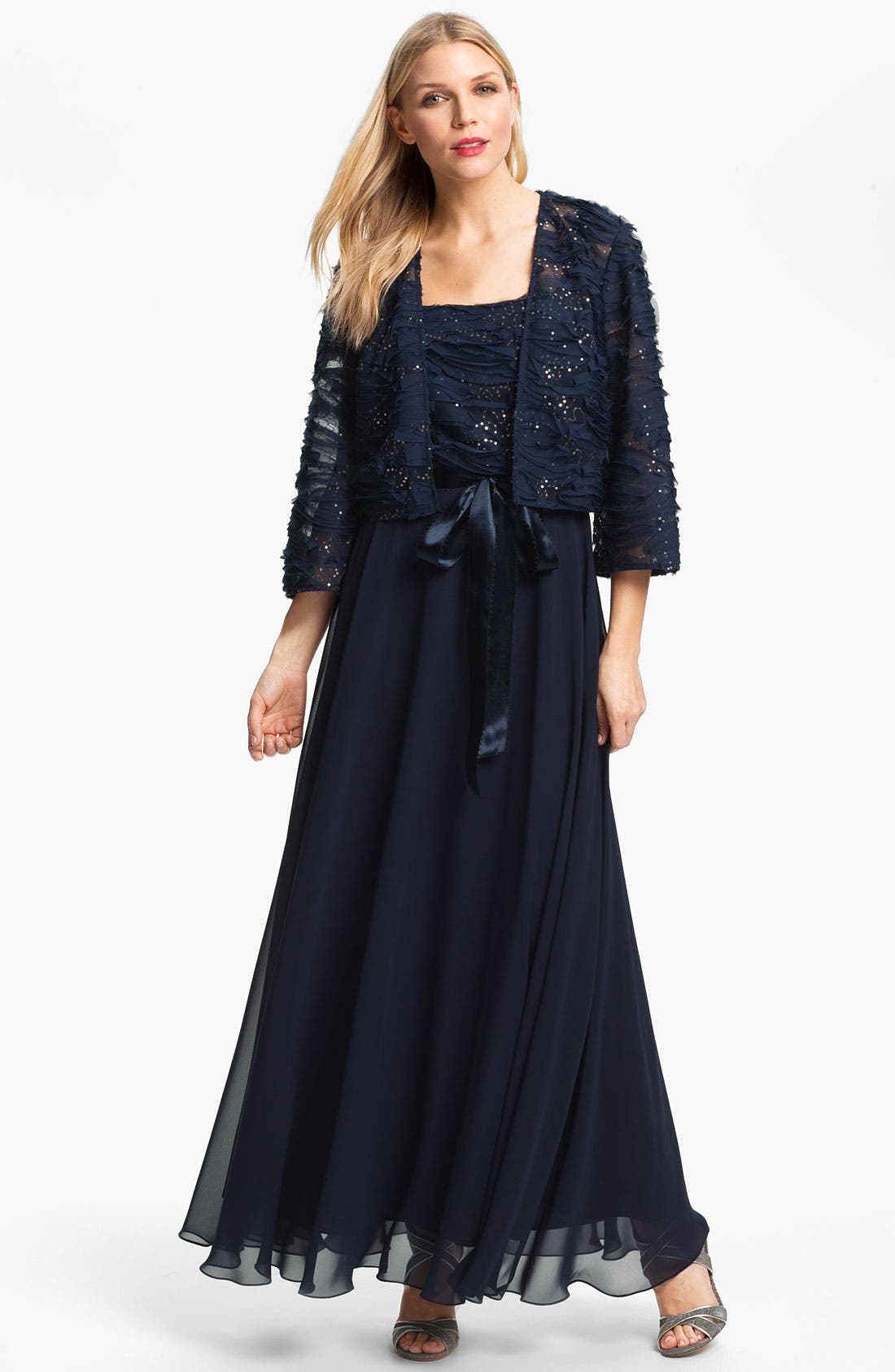 Embellished Chiffon Gown & Jacket,                             Main thumbnail 1, color,                             414