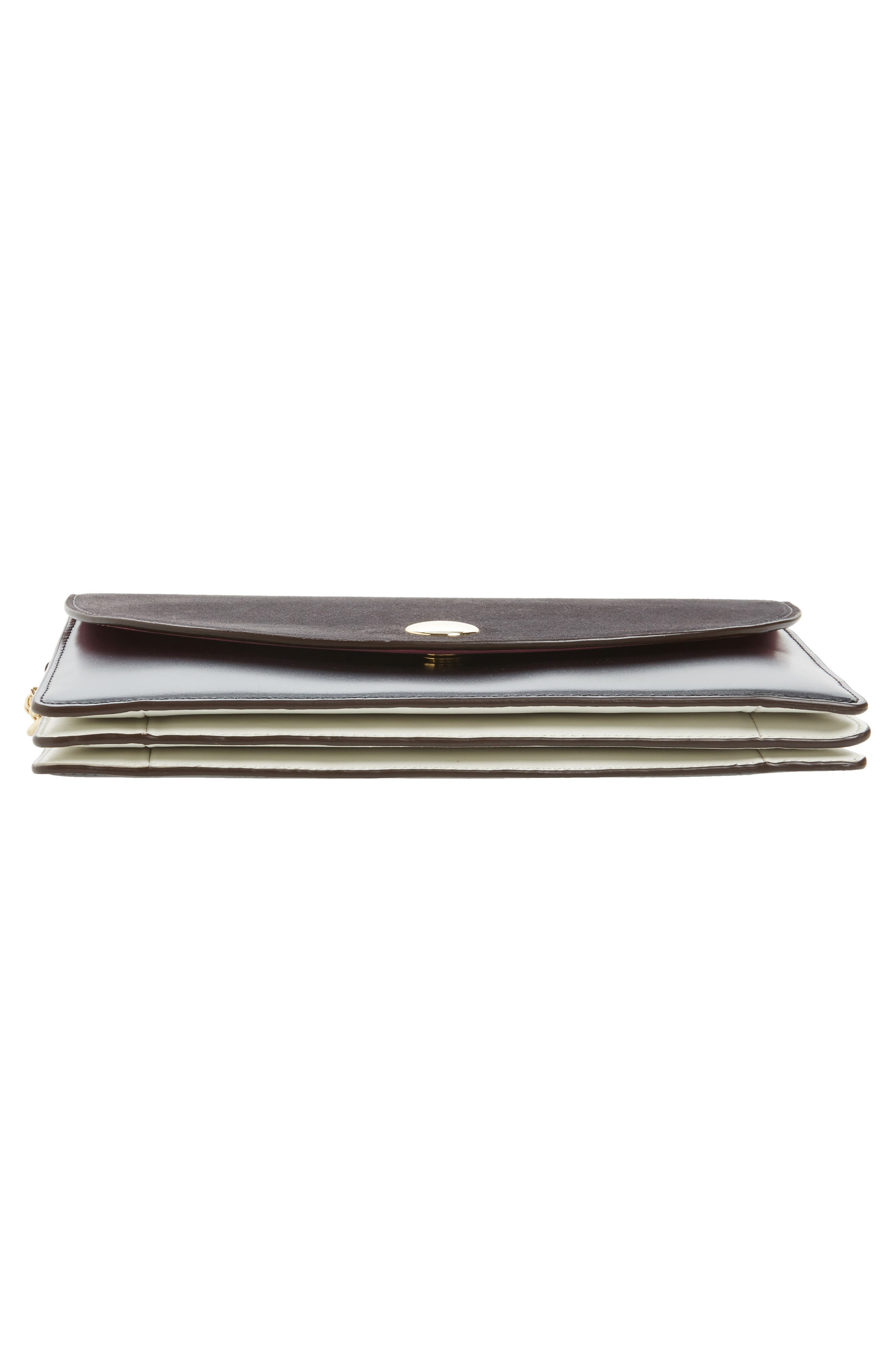 Convertible Leather Saddle Clutch,                             Alternate thumbnail 6, color,                             020