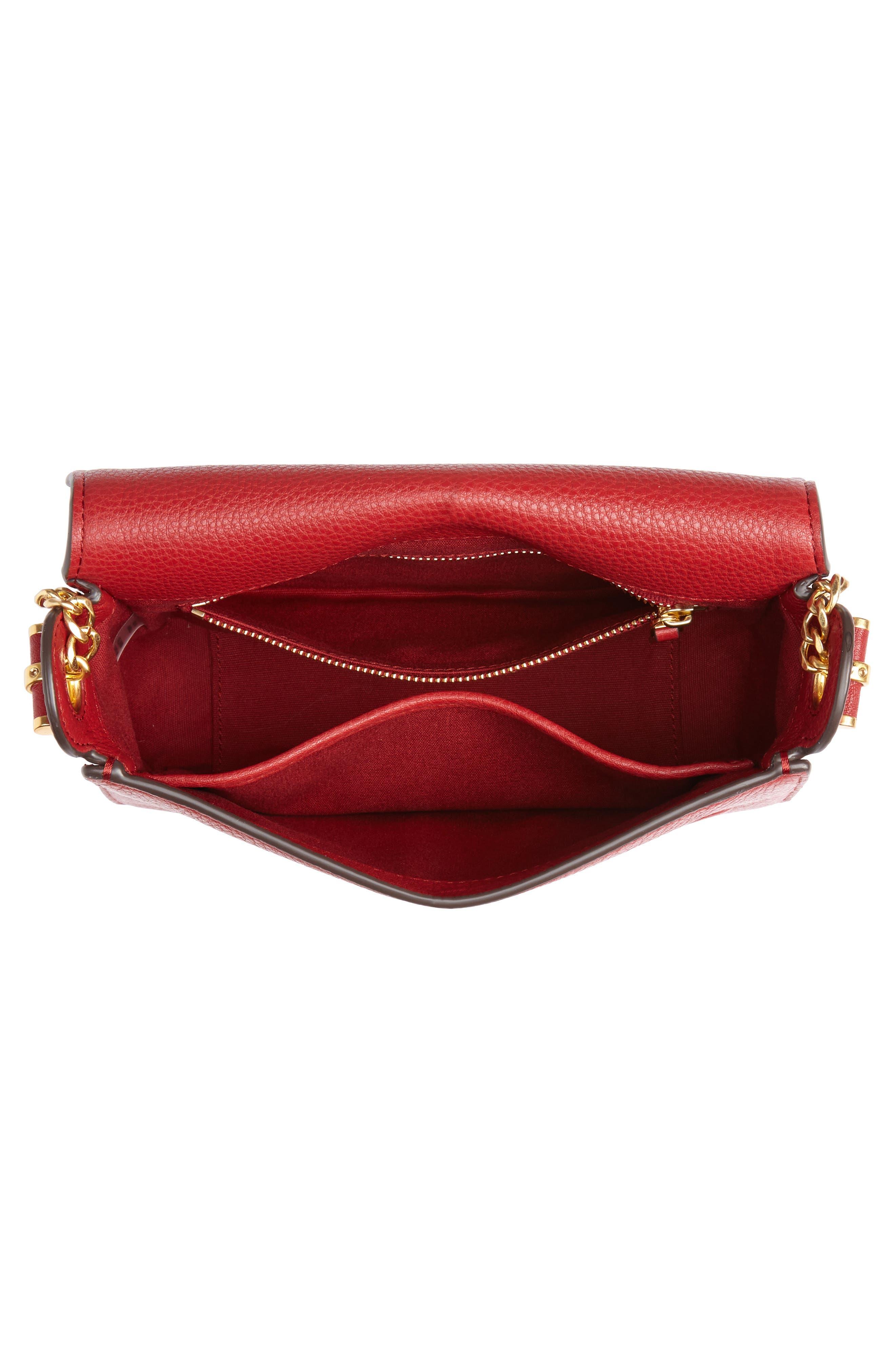 Chelsea Leather Crossbody Bag,                             Alternate thumbnail 4, color,                             REDSTONE