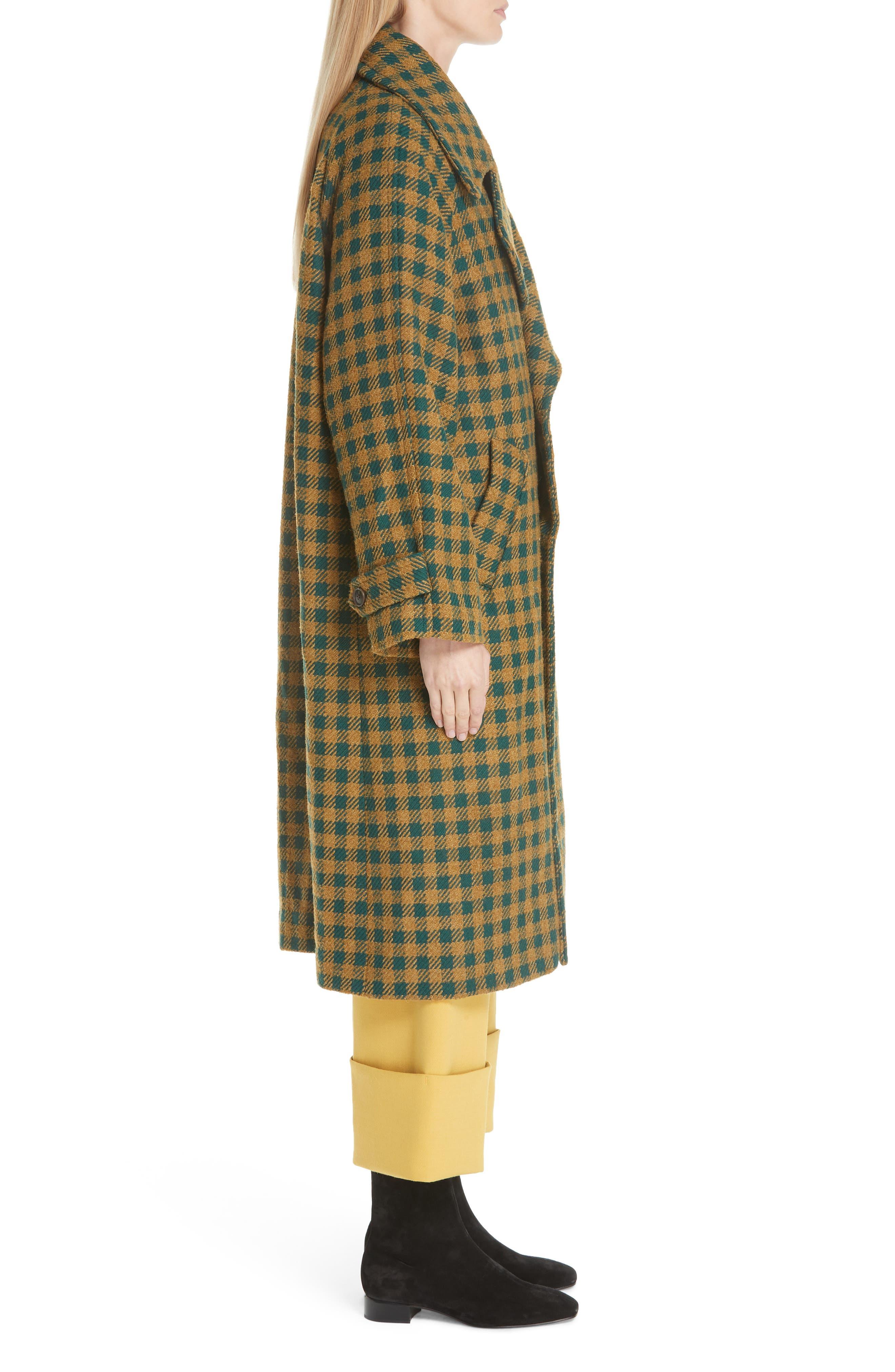 Ethno Pop Check Boyfriend Coat,                             Alternate thumbnail 3, color,                             GREEN CHECK