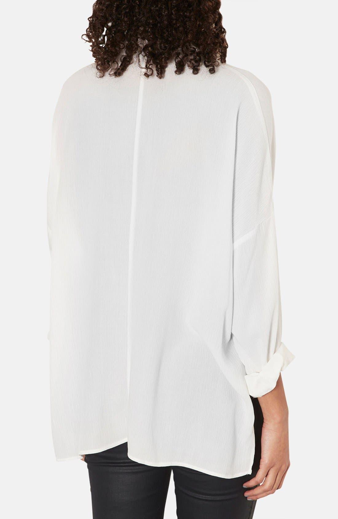 Oversized Crinkle Shirt,                             Alternate thumbnail 4, color,                             100