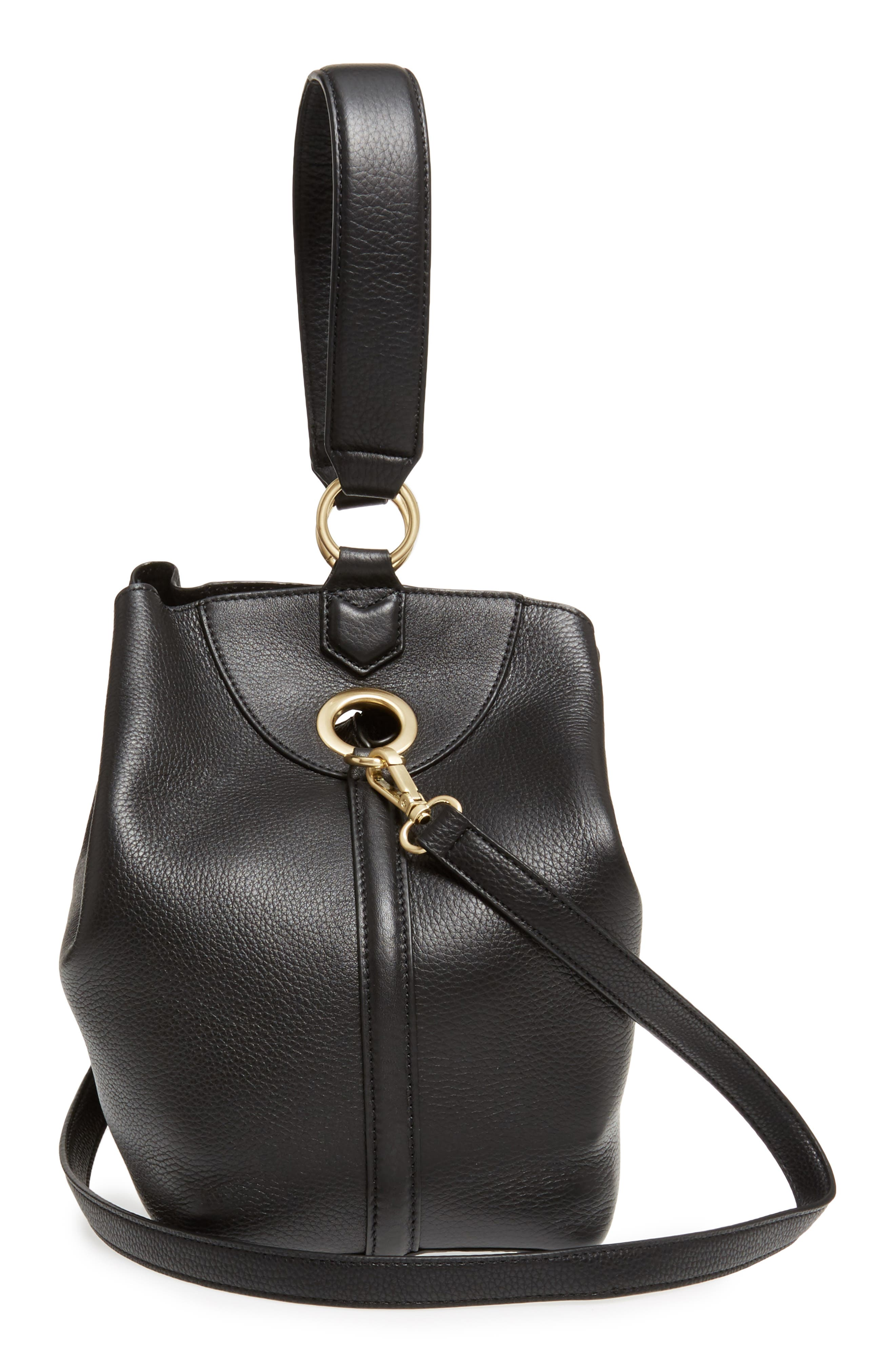 Renee Leather Bucket Bag,                             Alternate thumbnail 5, color,                             001