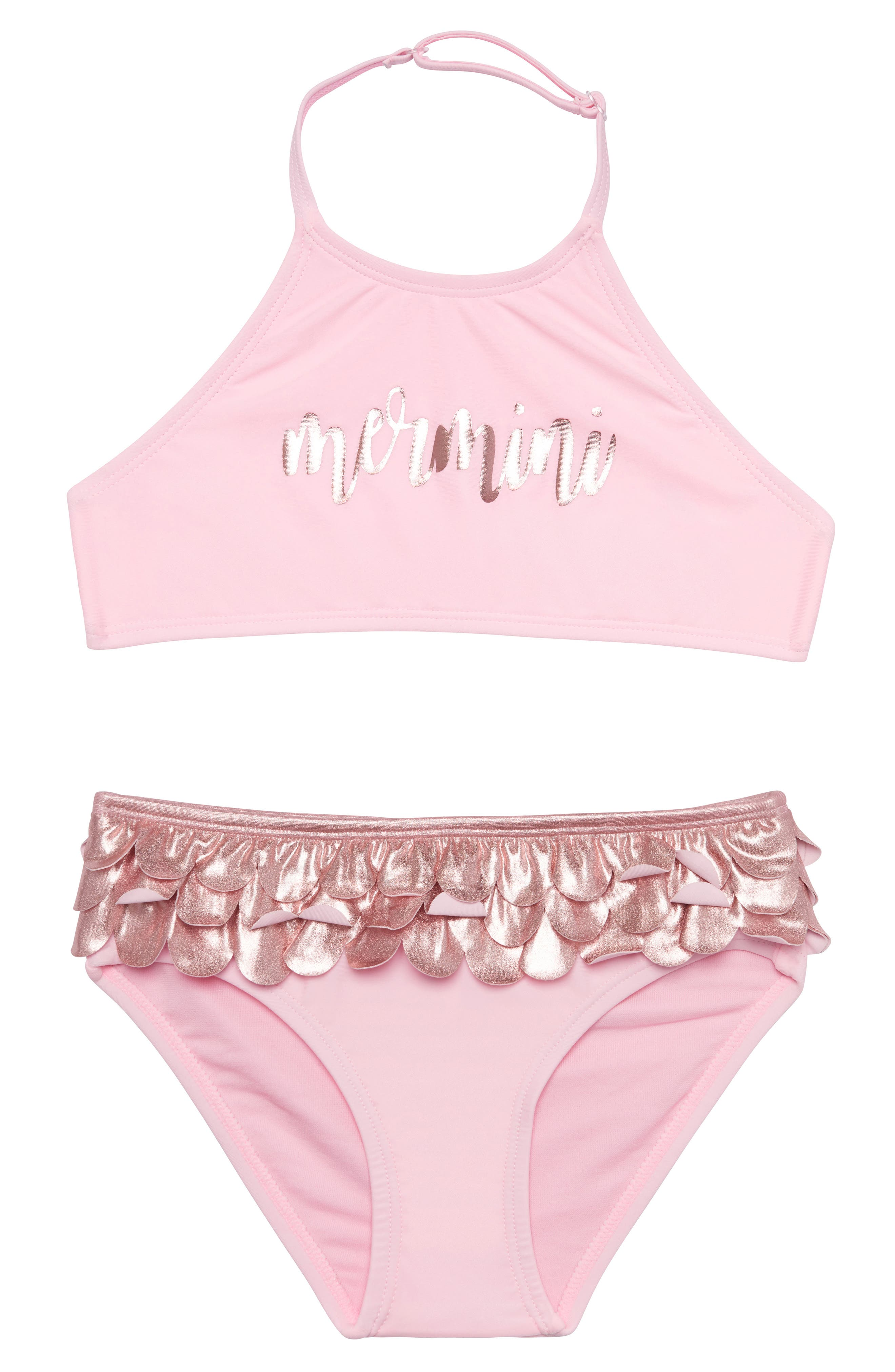 Mermaid Life Two-Piece Swimsuit,                         Main,                         color, ROSE
