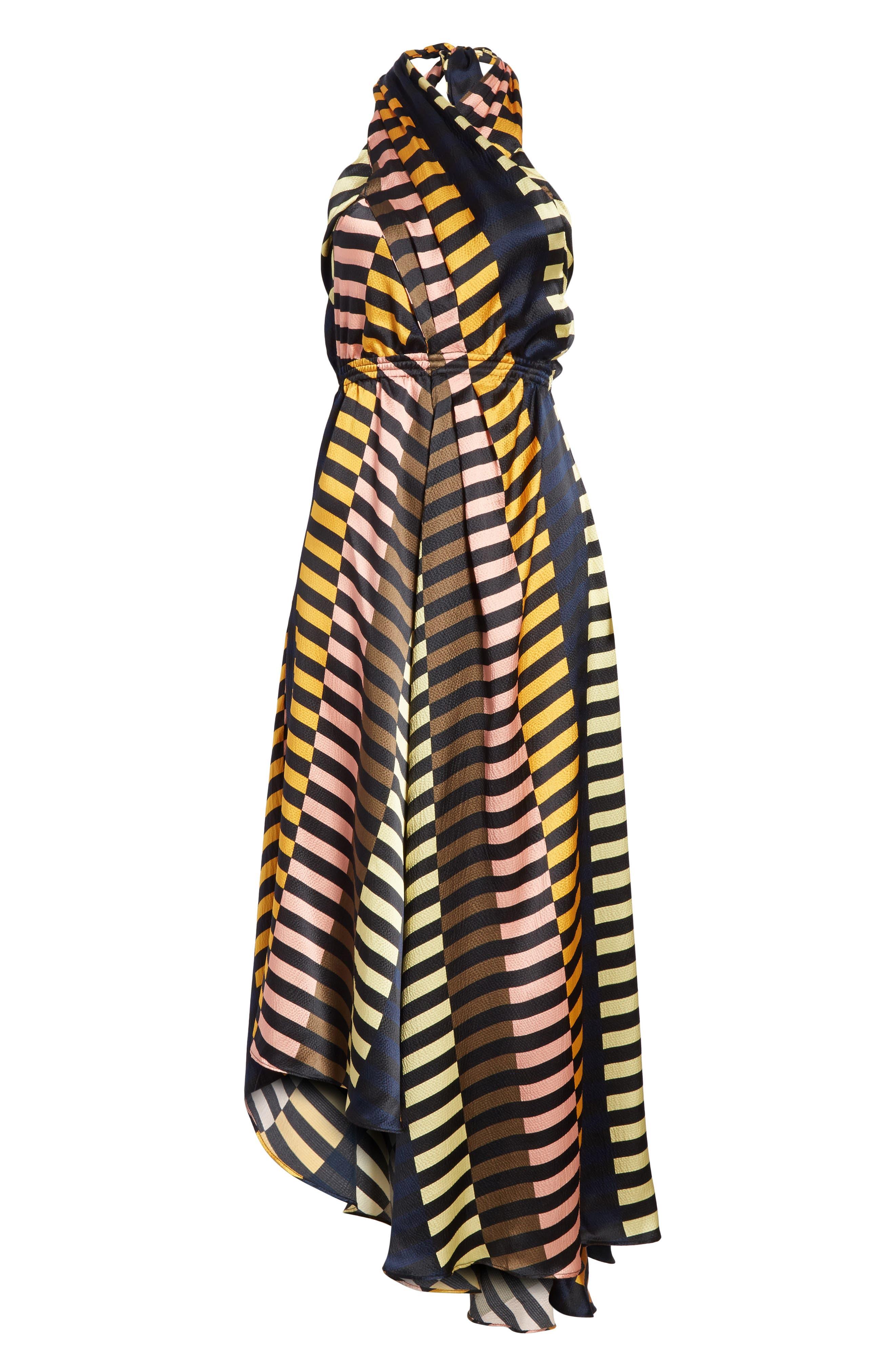 Nightingale Silk Halter Dress,                             Alternate thumbnail 6, color,                             001