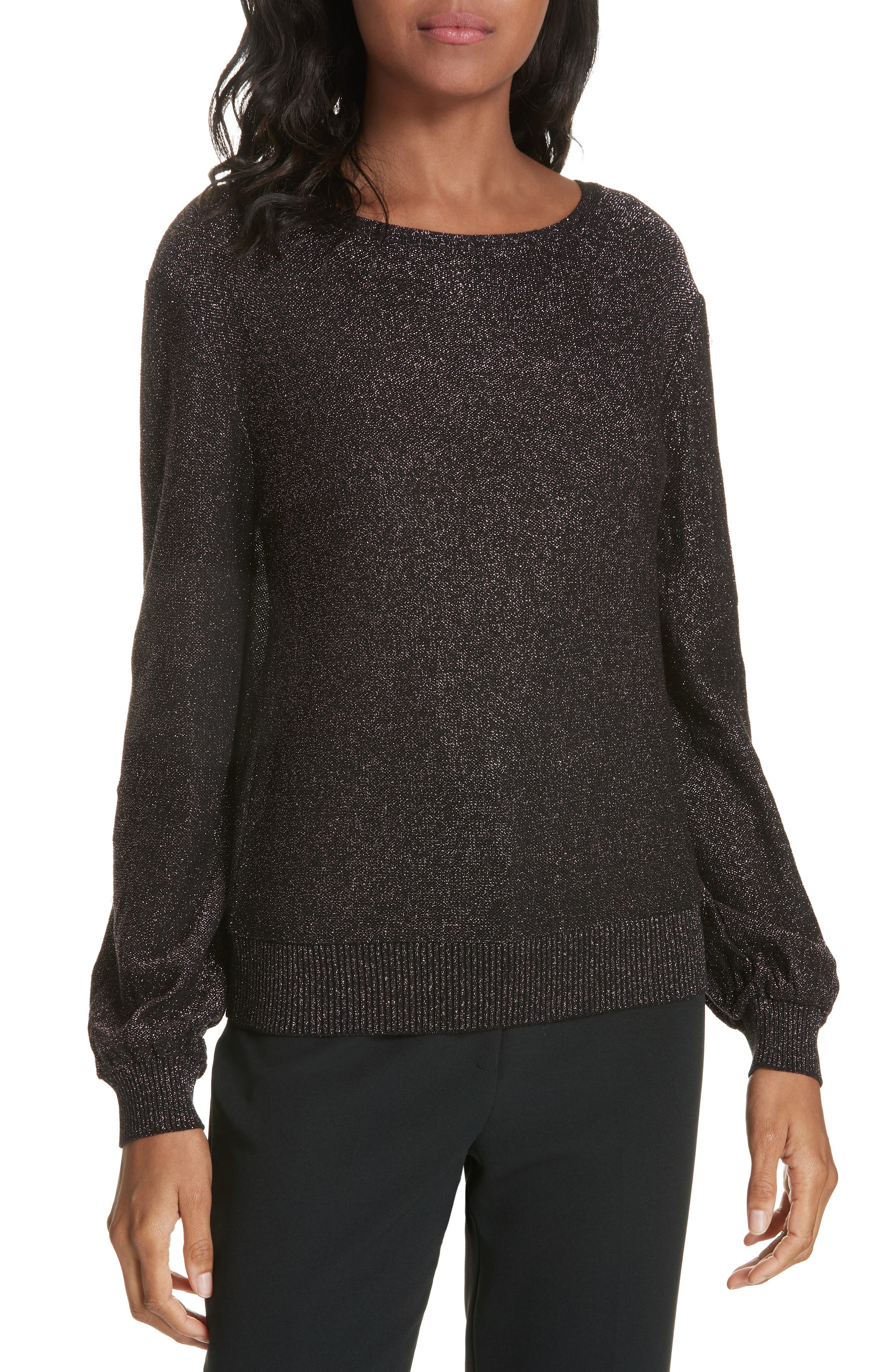 Metallic Shimmer Cotton Blend Sweater,                         Main,                         color, LILAC