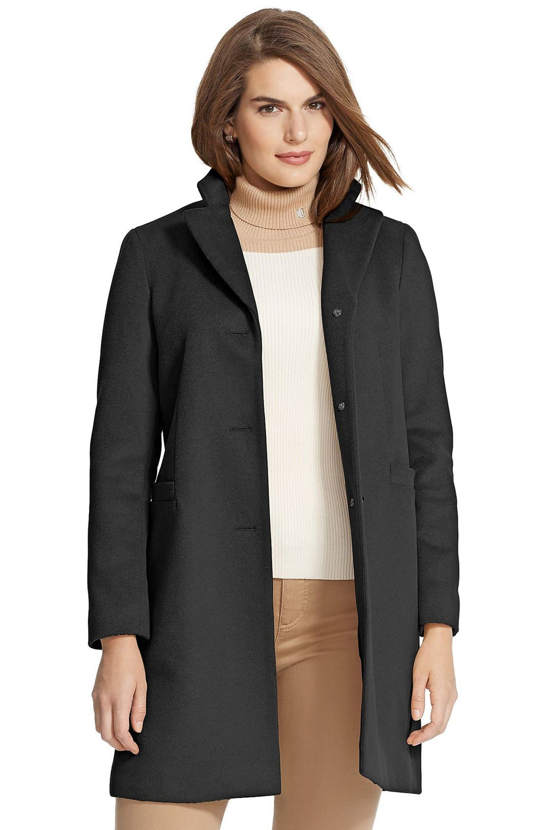 LAUREN RALPH LAUREN Wool Blend Reefer Coat, Main, color, BLACK