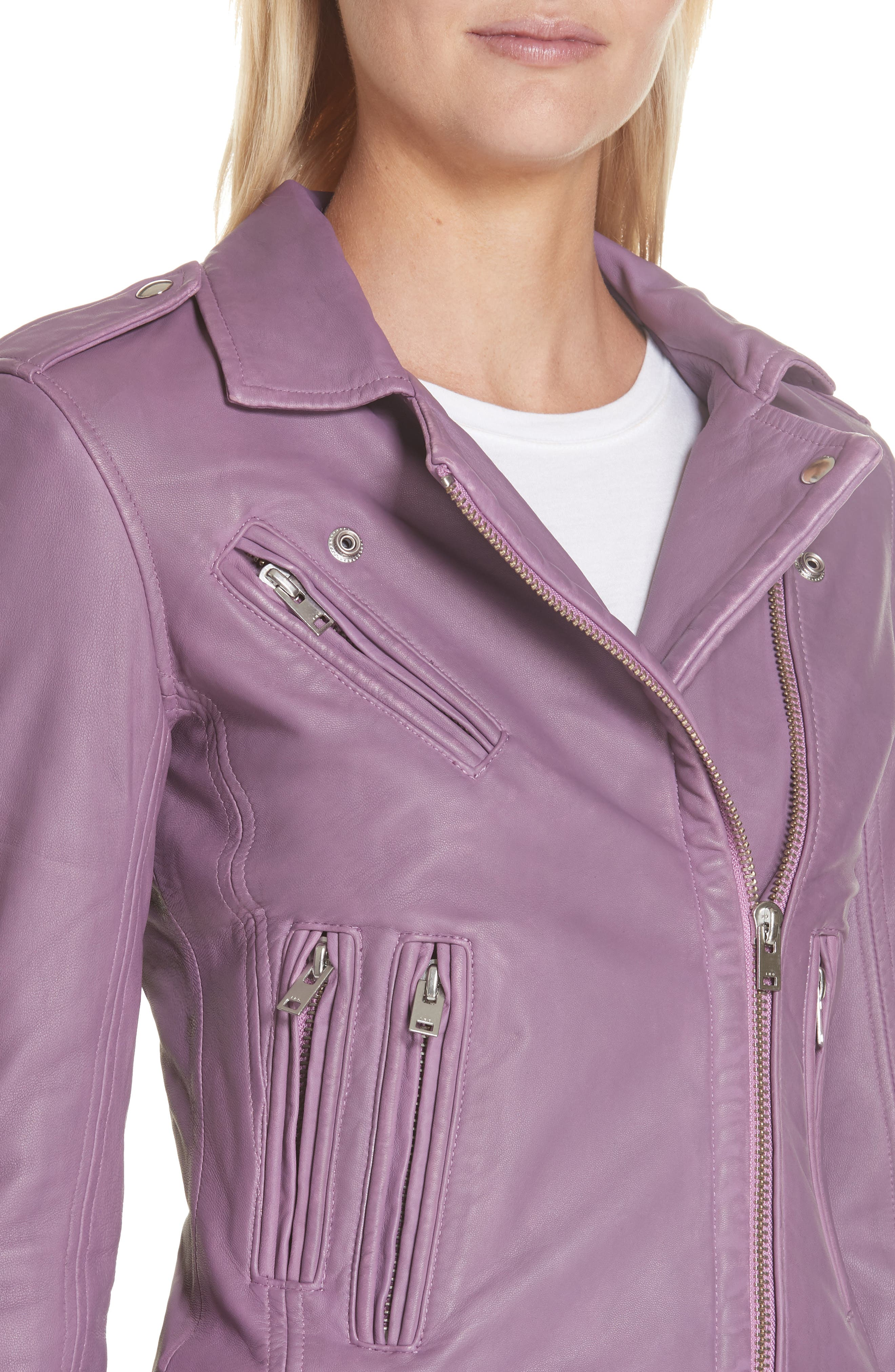 Leather Moto Jacket,                             Alternate thumbnail 4, color,                             DUSTY PINK