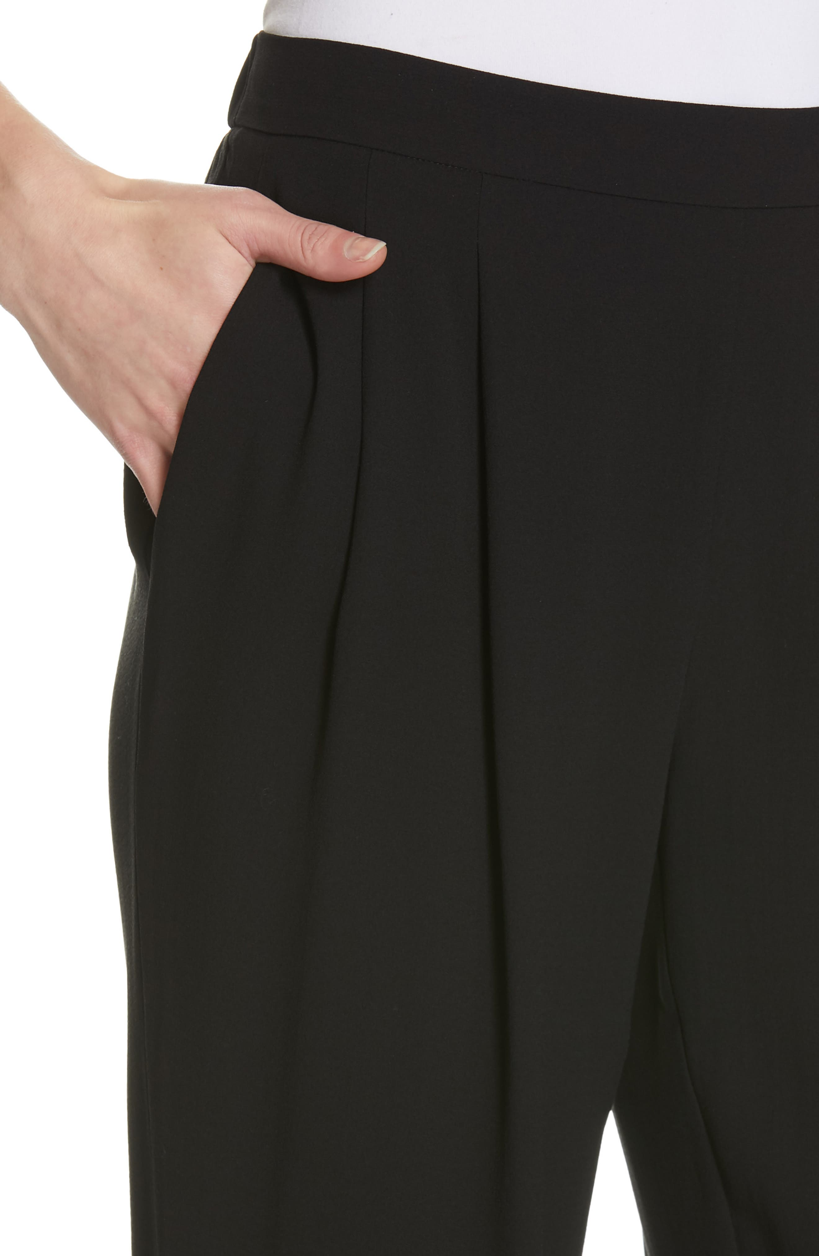 Slouchy Silk Ankle Pants,                             Alternate thumbnail 4, color,                             BLACK