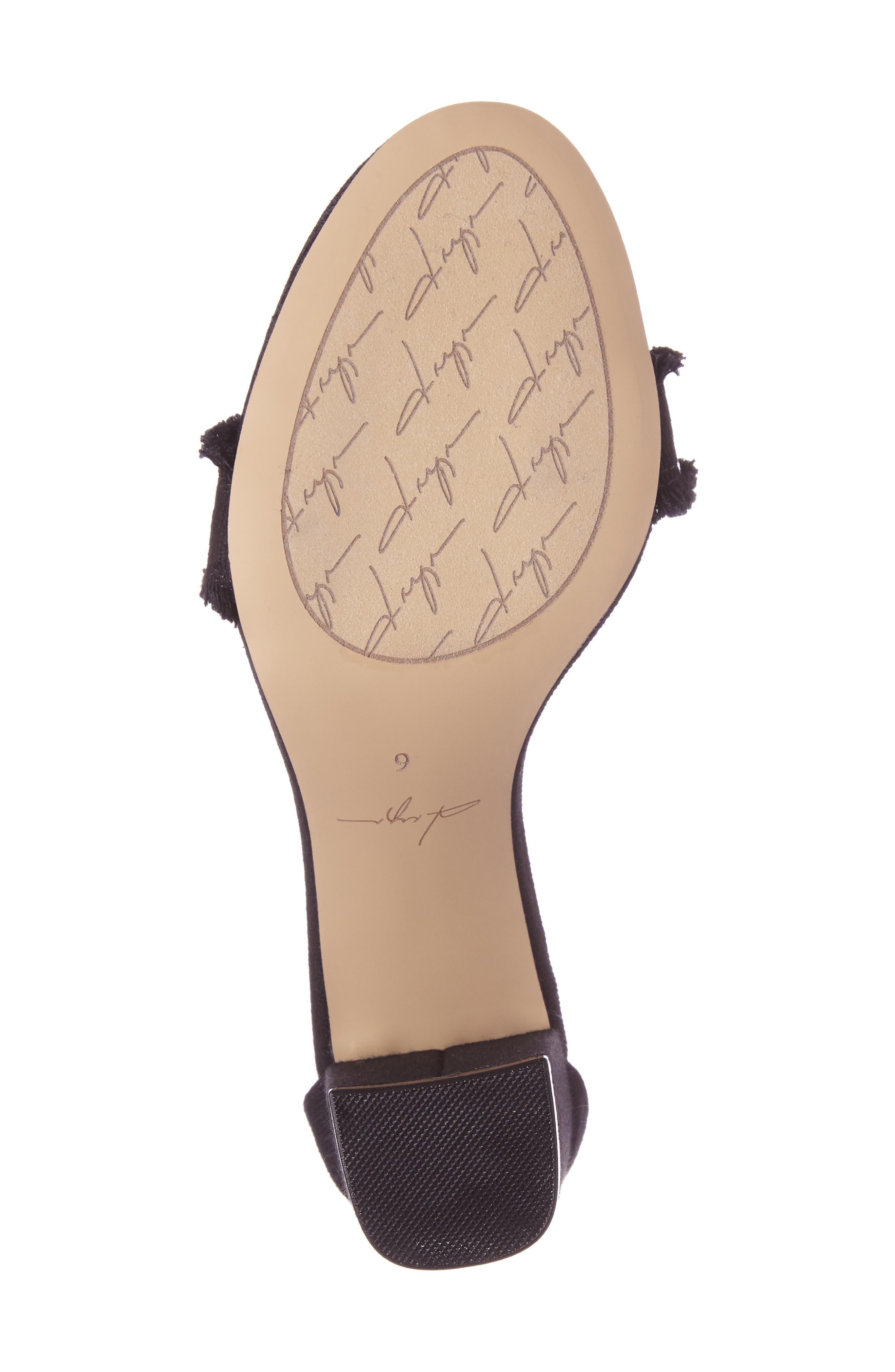 DAYA,                             by Zendaya Shasta Fringe Denim Ankle Strap Sandal,                             Alternate thumbnail 4, color,                             001