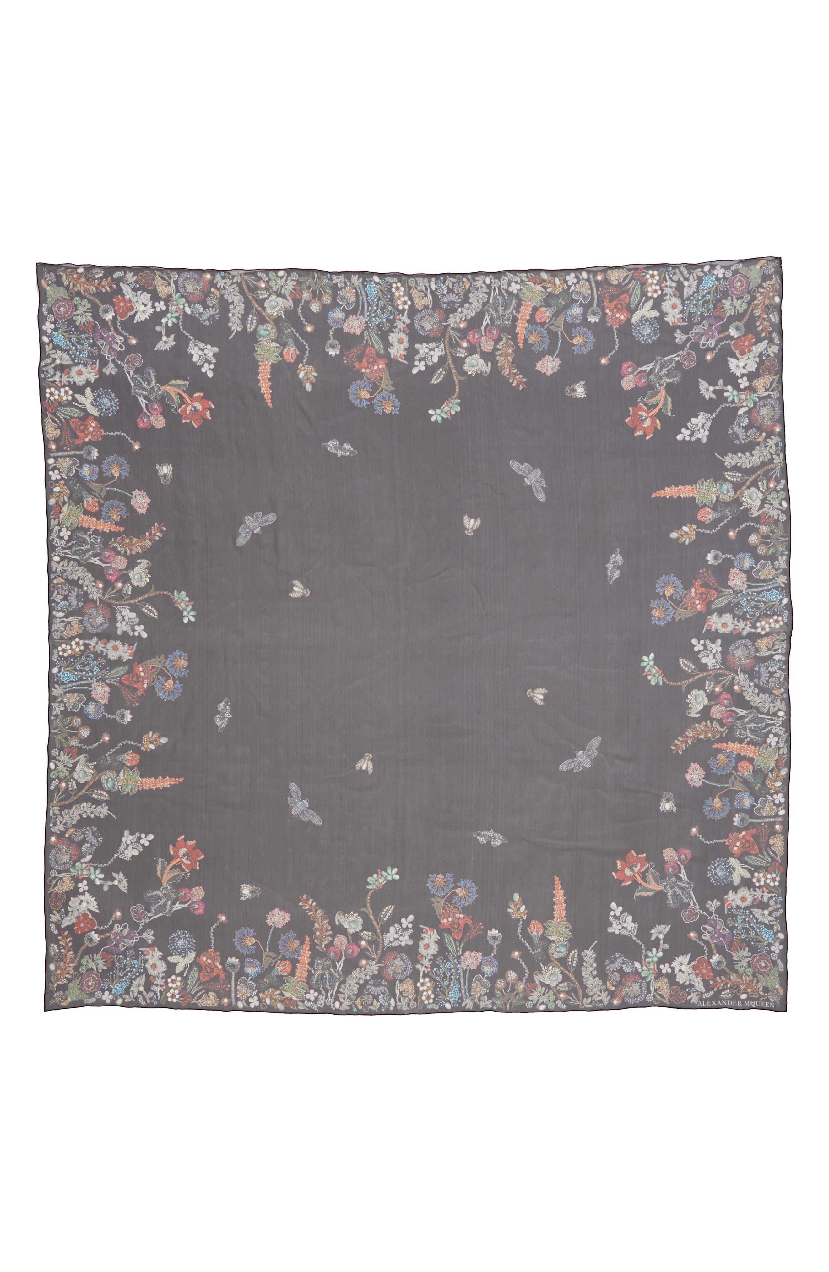 Jeweled Garden Silk Chiffon Scarf,                             Main thumbnail 1, color,
