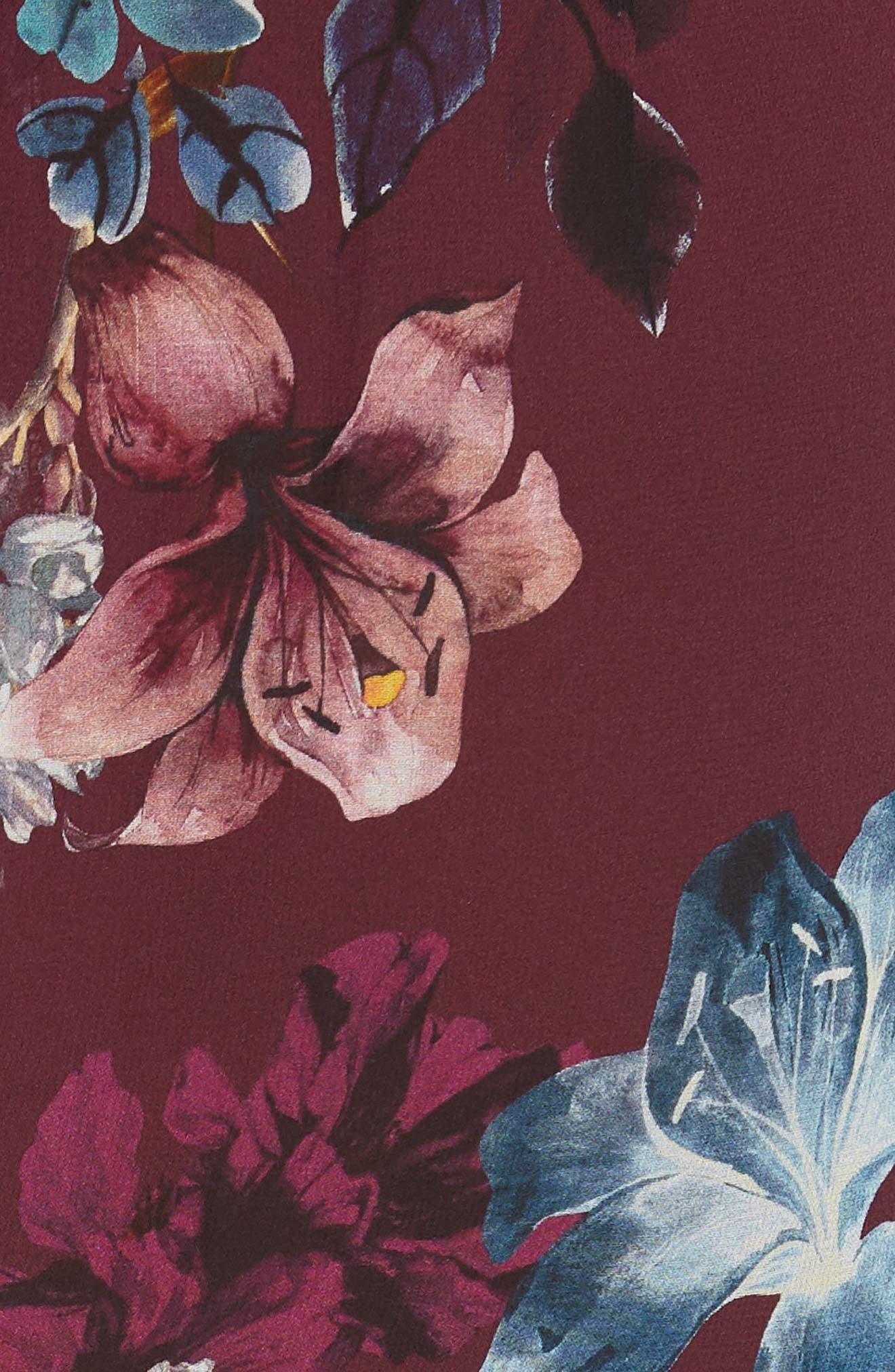 Floral Silk Drawstring Dress,                             Alternate thumbnail 5, color,                             930