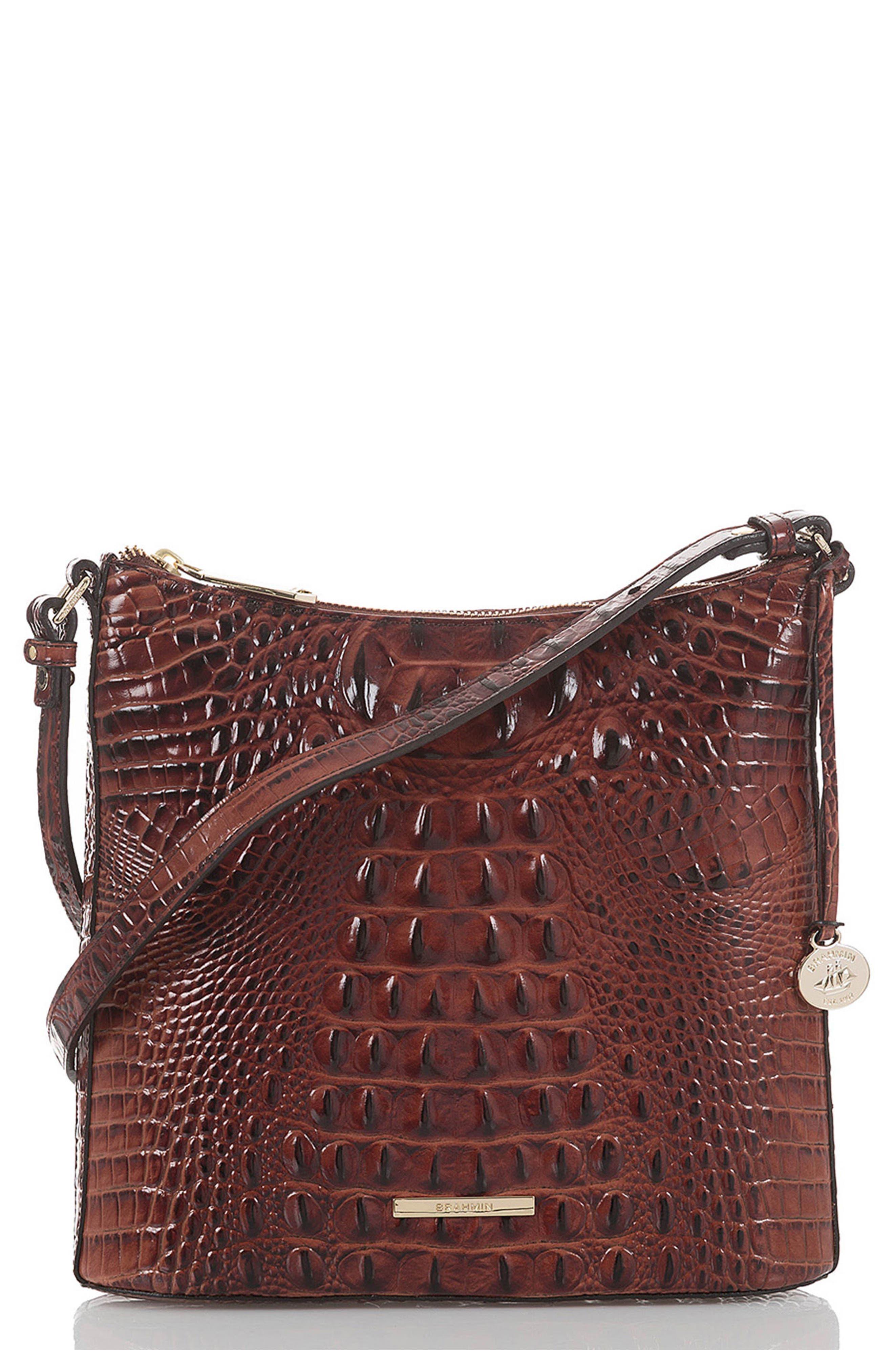 Katie Croc Embossed Leather Crossbody Bag,                             Main thumbnail 1, color,                             PECAN