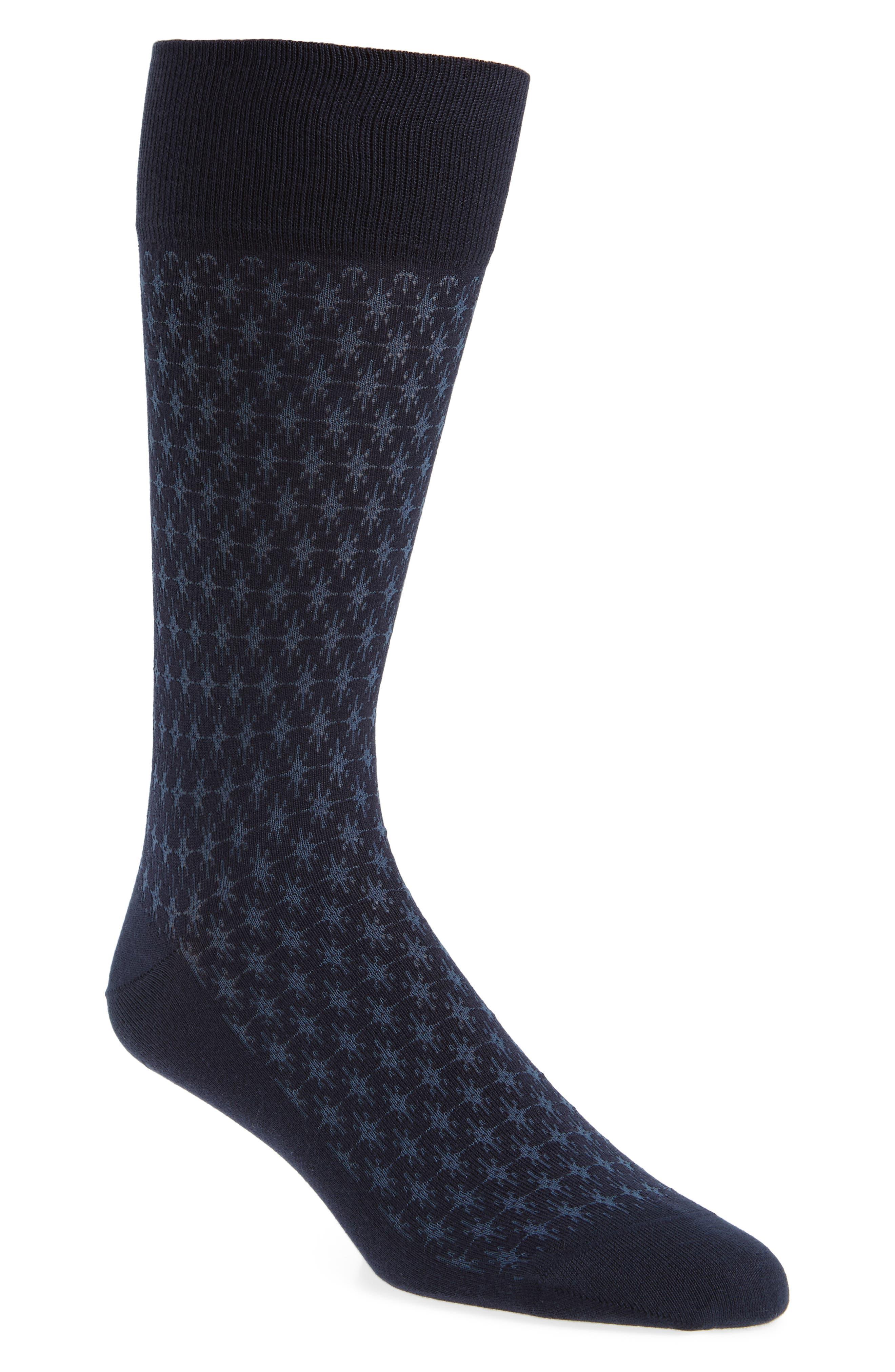 Geometric Pima Cotton Blend Socks,                         Main,                         color, 410