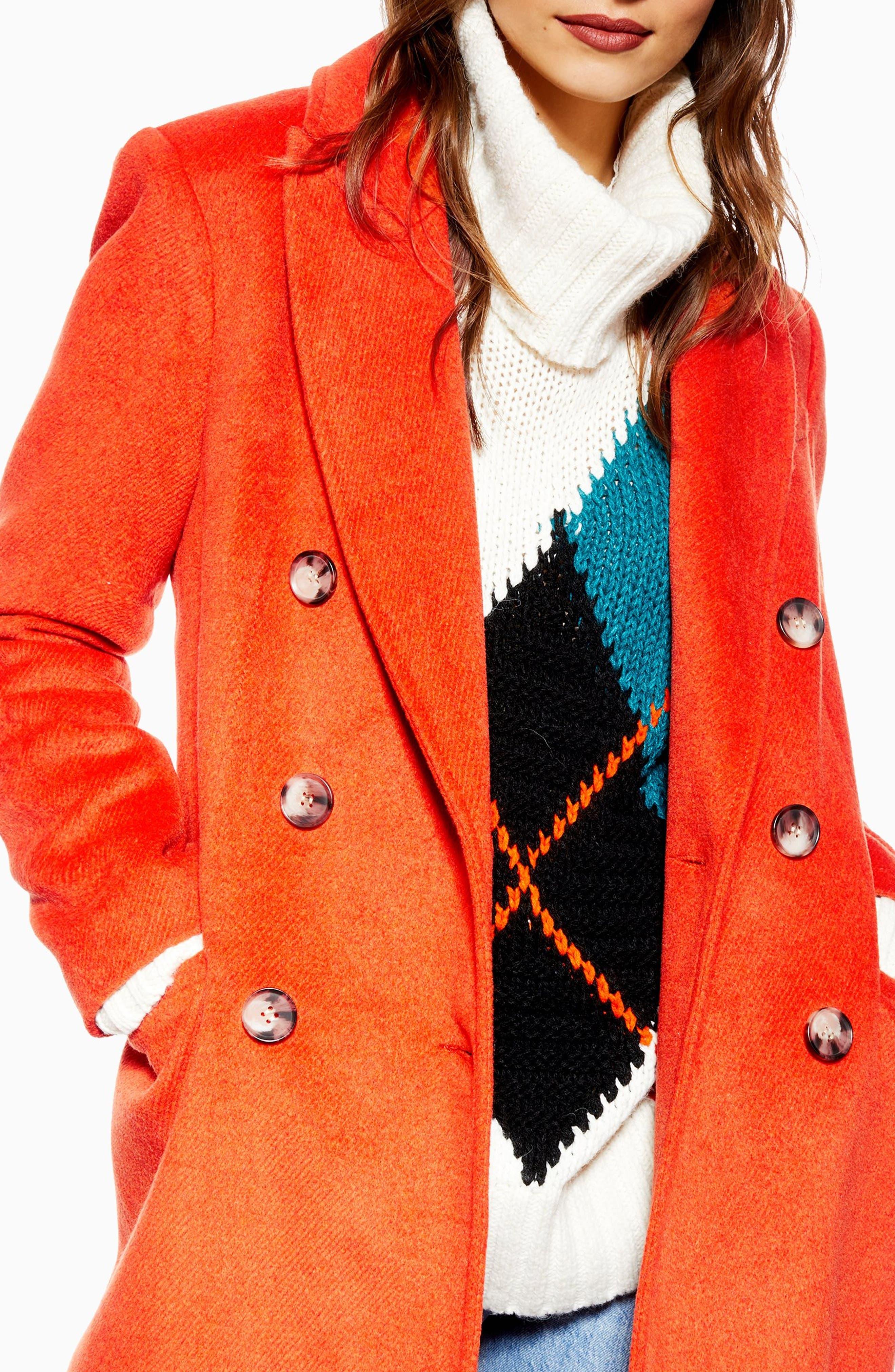 Brushed Long Coat,                             Alternate thumbnail 3, color,                             RUST
