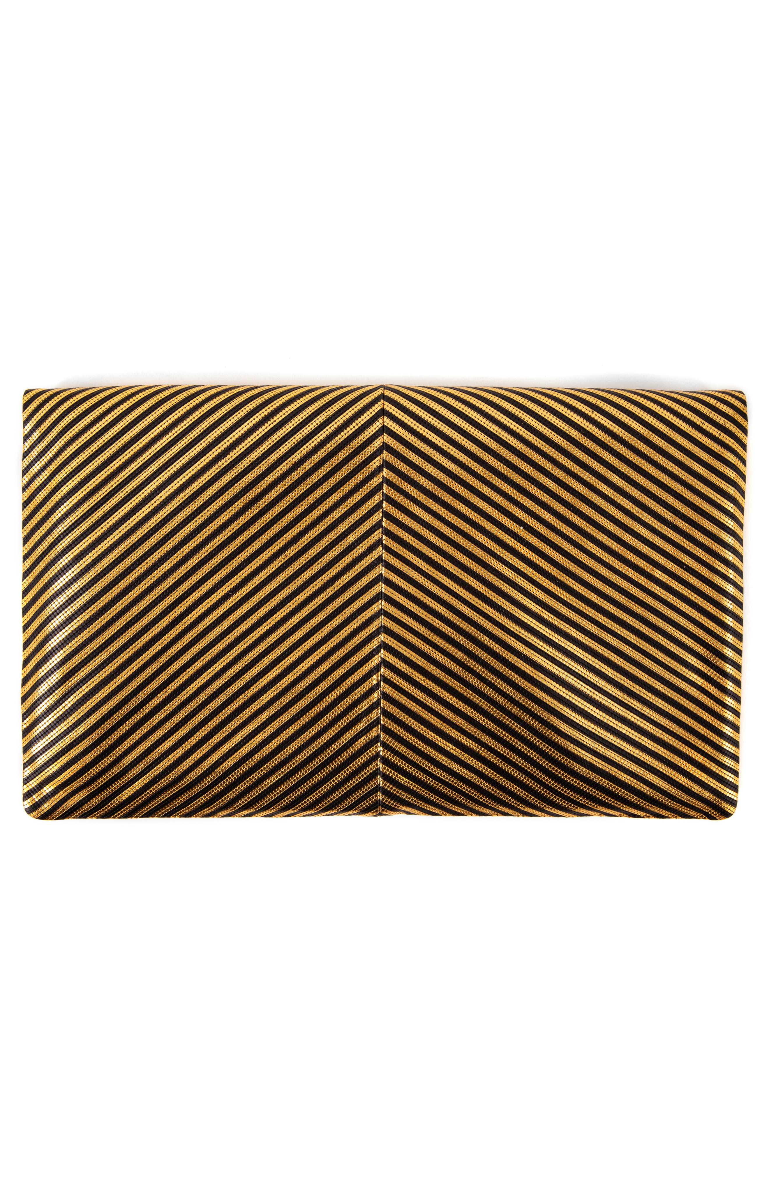 Disco Stripe Foldover Clutch,                             Alternate thumbnail 2, color,                             DISCO STRIPE PATCHWORK BLACK