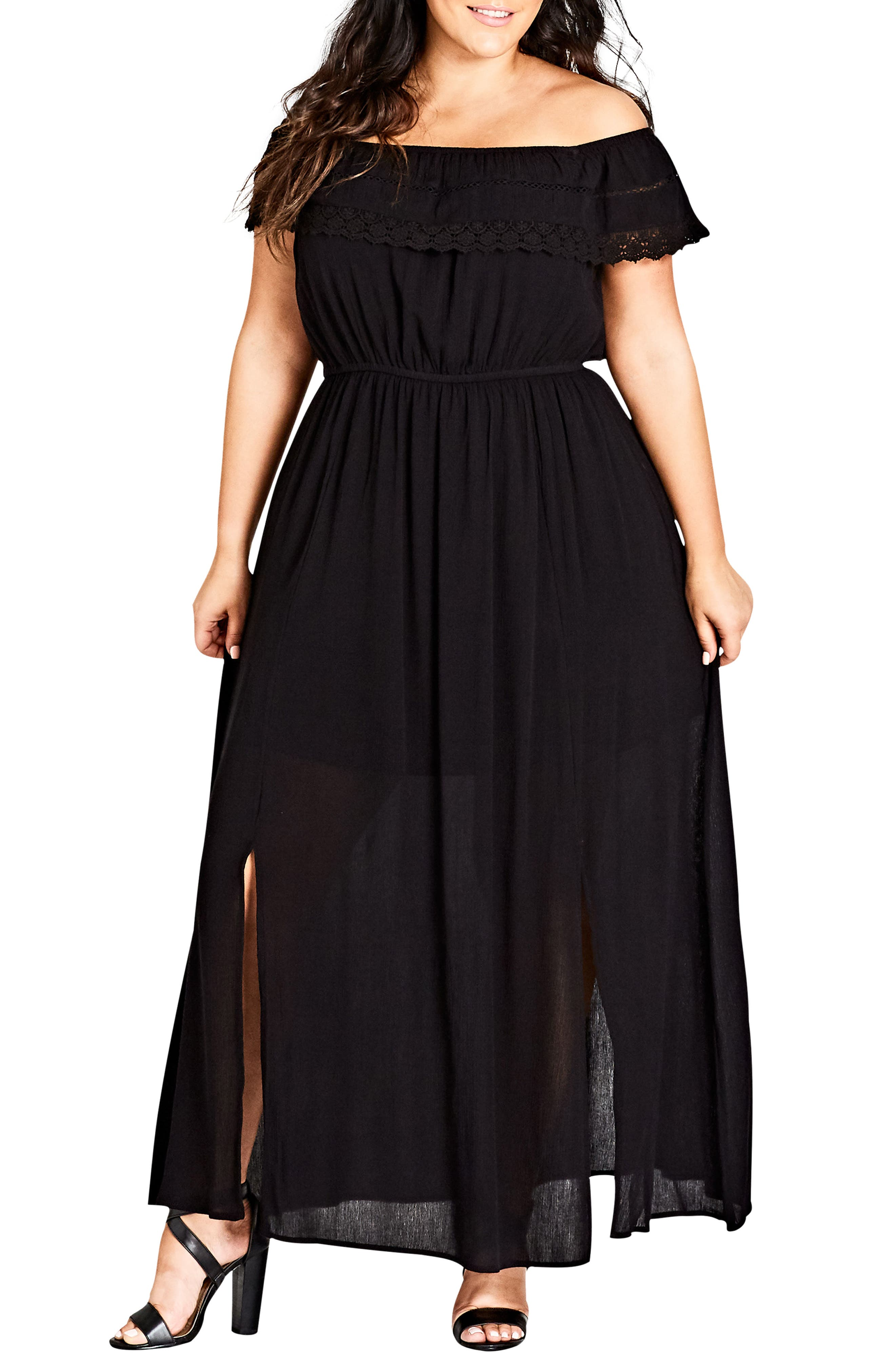 Off the Shoulder Maxi Dress,                         Main,                         color, BLACK