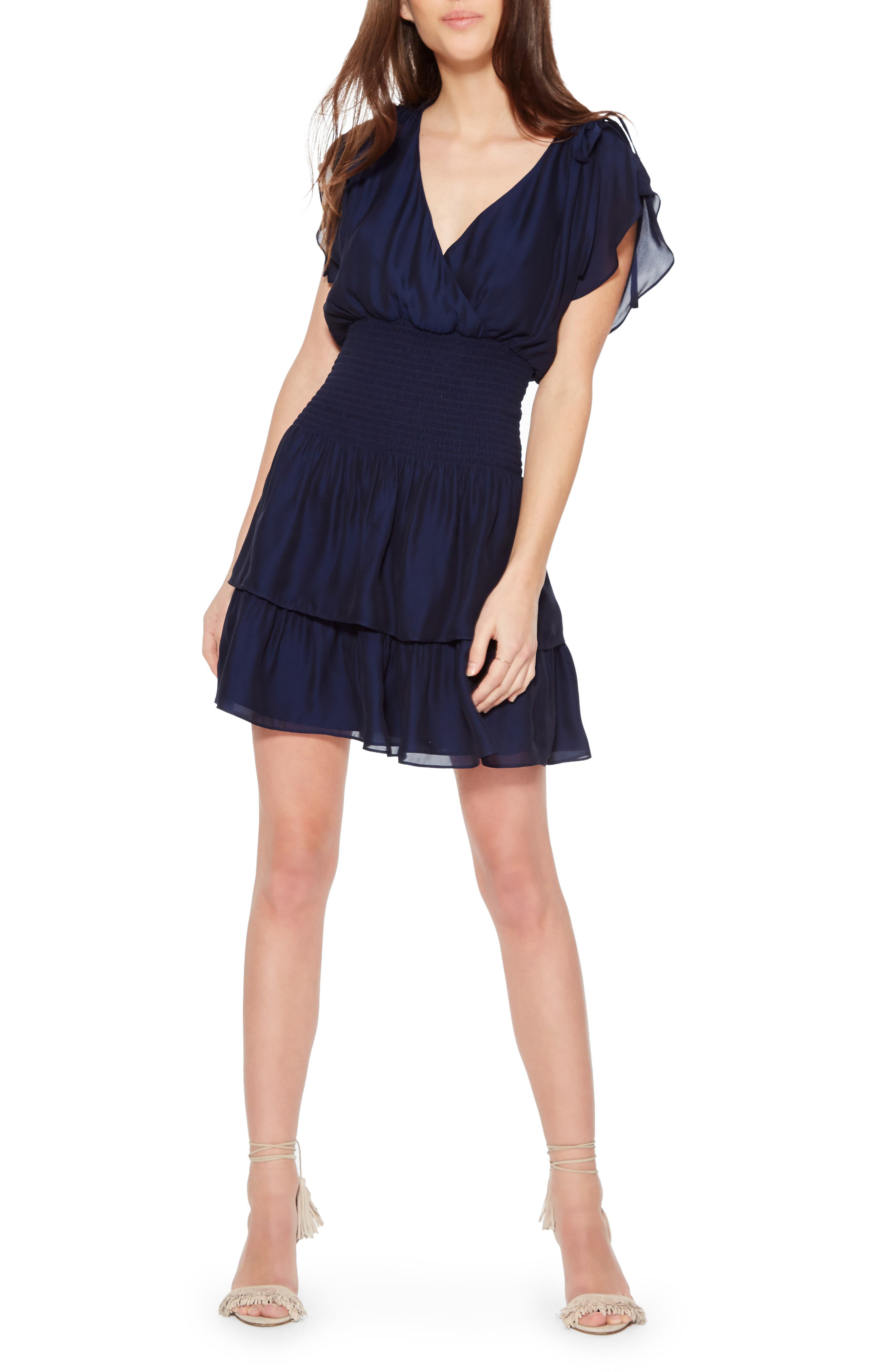 Bondi Silk Blend Minidress, Main, color, AQUARIUS