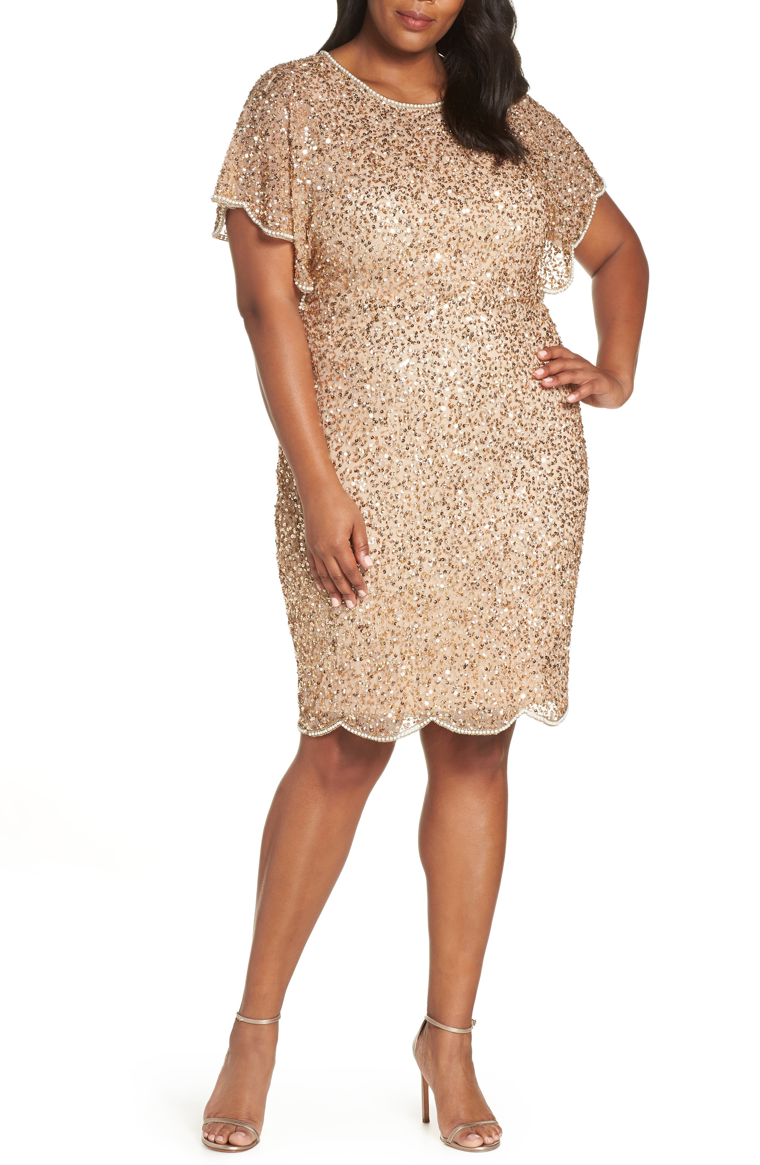 Beaded Flutter Sleeve Sheath Dress,                         Main,                         color, CHAMPAGNE/ GOLD