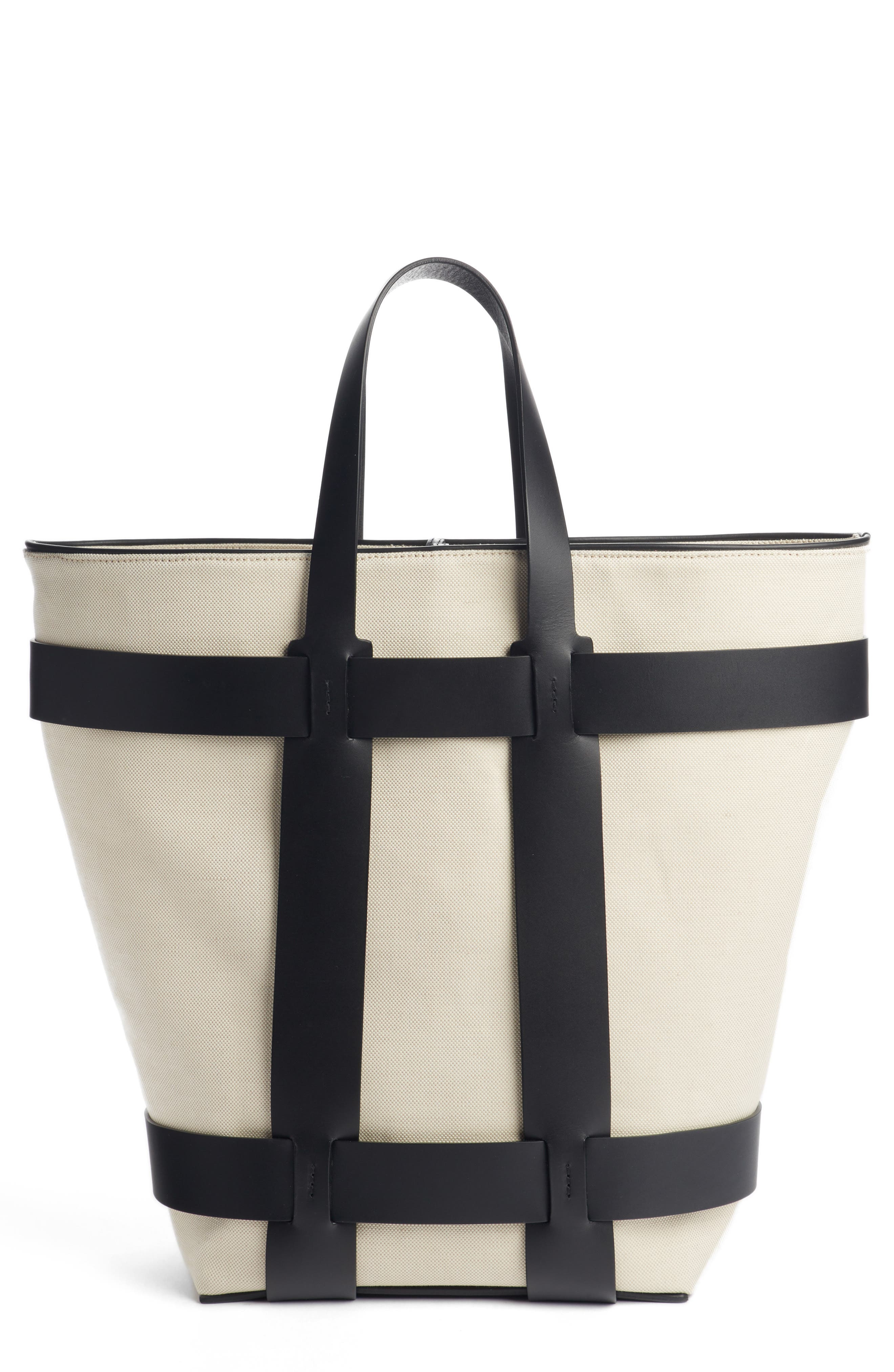 PACO RABANNE,                             Cage Leather & Canvas North/South Tote,                             Main thumbnail 1, color,                             IVORY/ BLACK