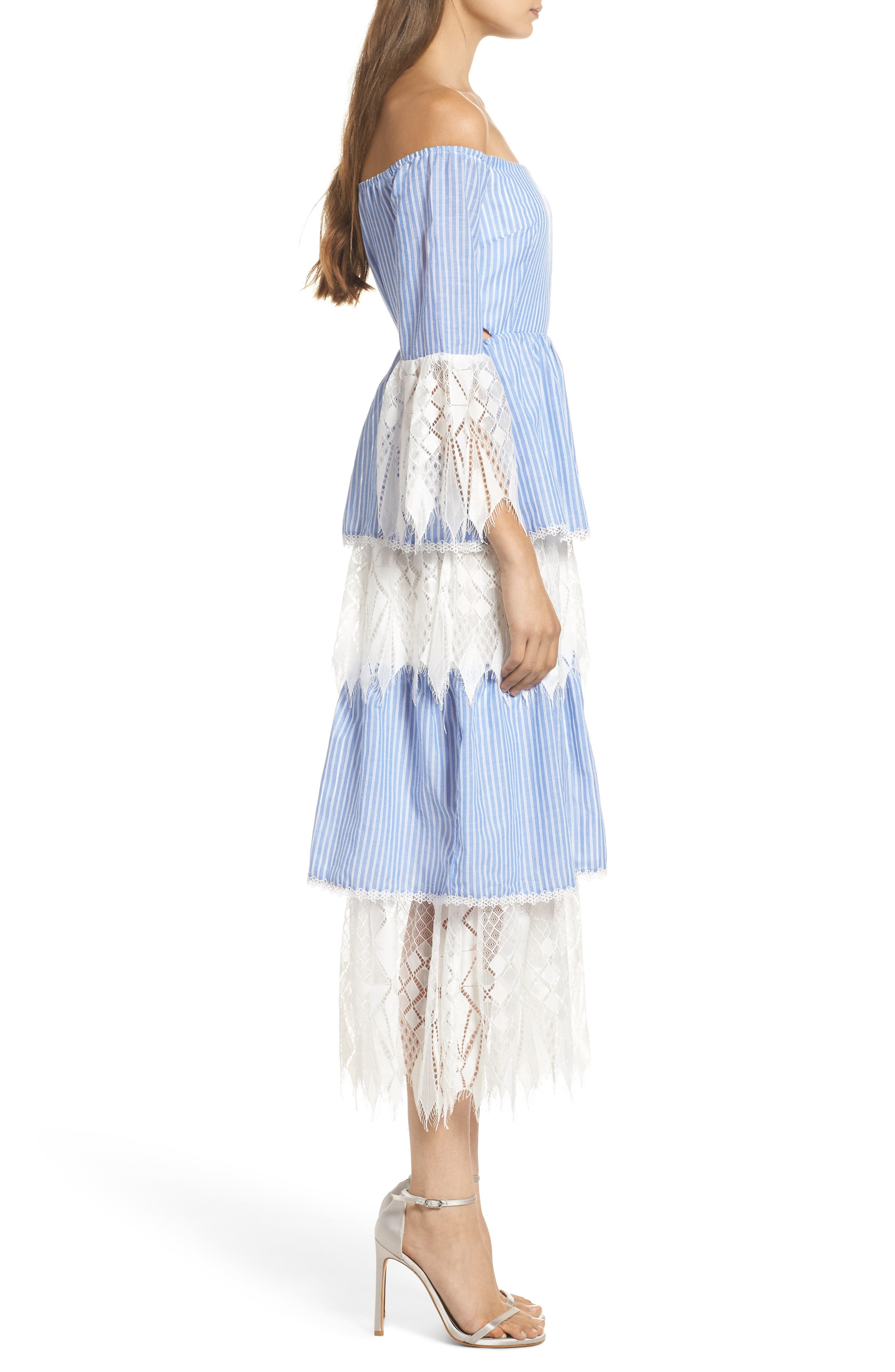 Addison Lace Tier Off the Shoulder Midi Dress,                             Alternate thumbnail 3, color,                             434