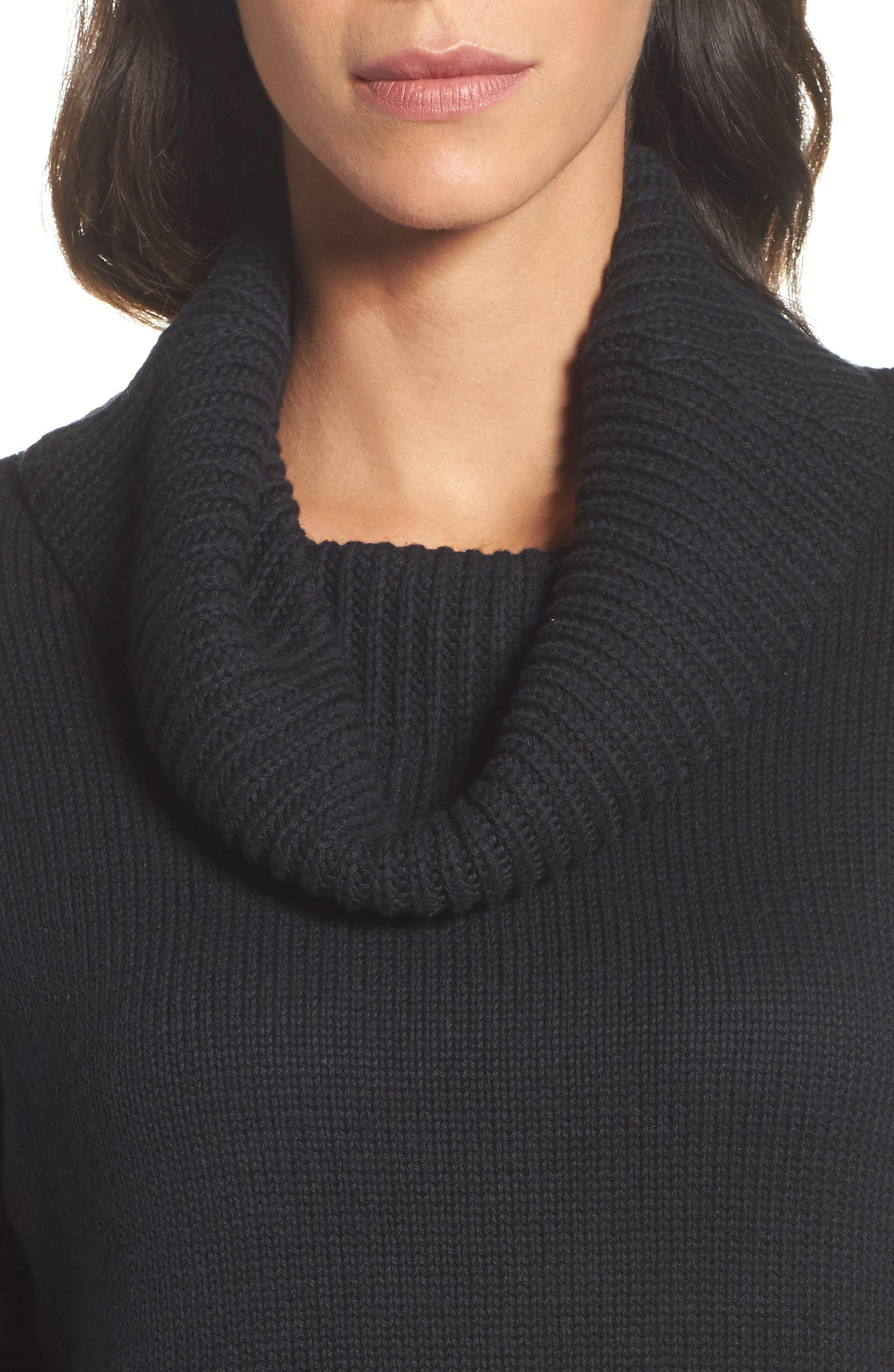 Cowl Neck Tunic Sweater,                             Alternate thumbnail 4, color,                             001