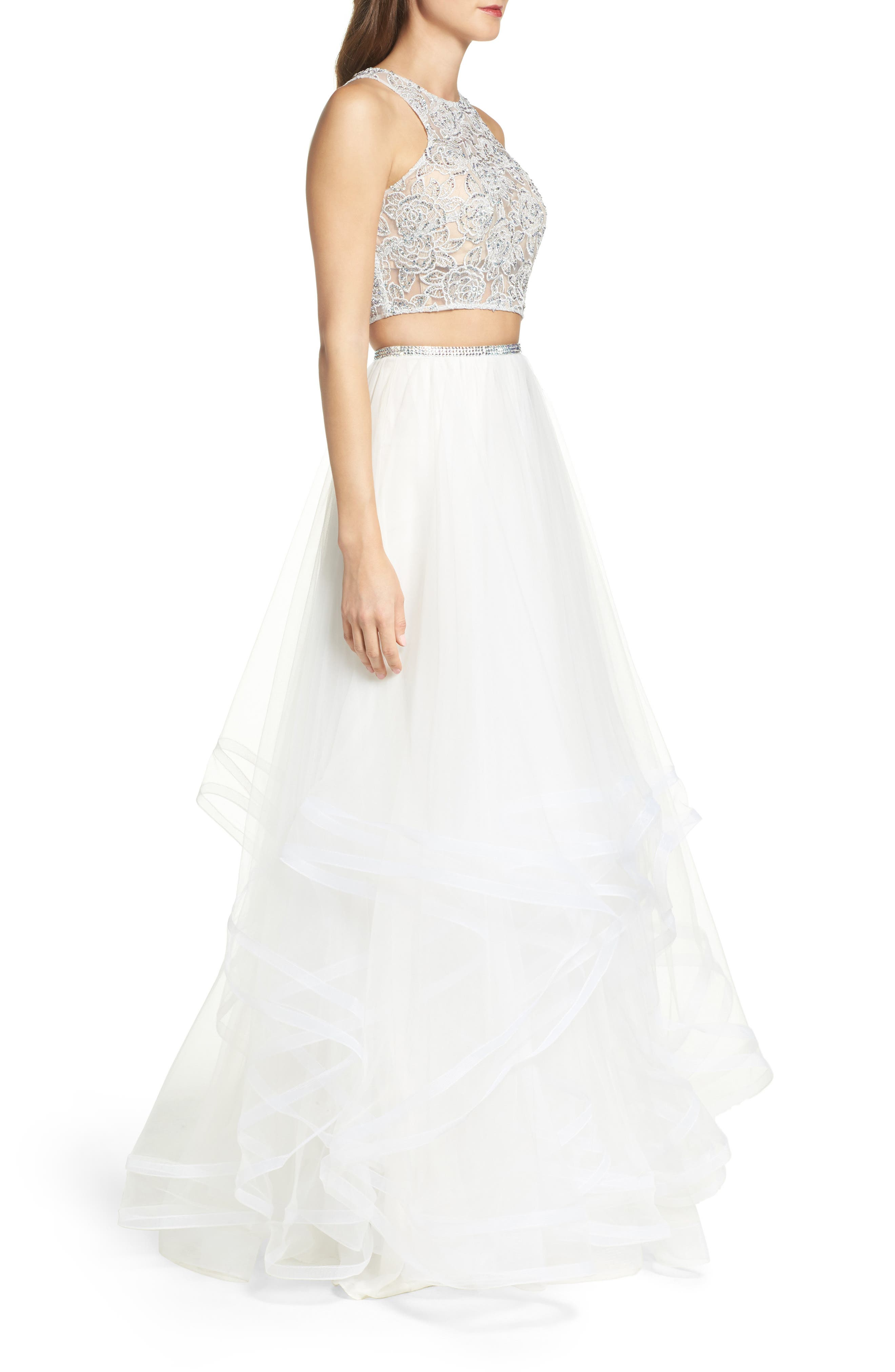 Embellished Lace Two-Piece Gown,                             Alternate thumbnail 6, color,