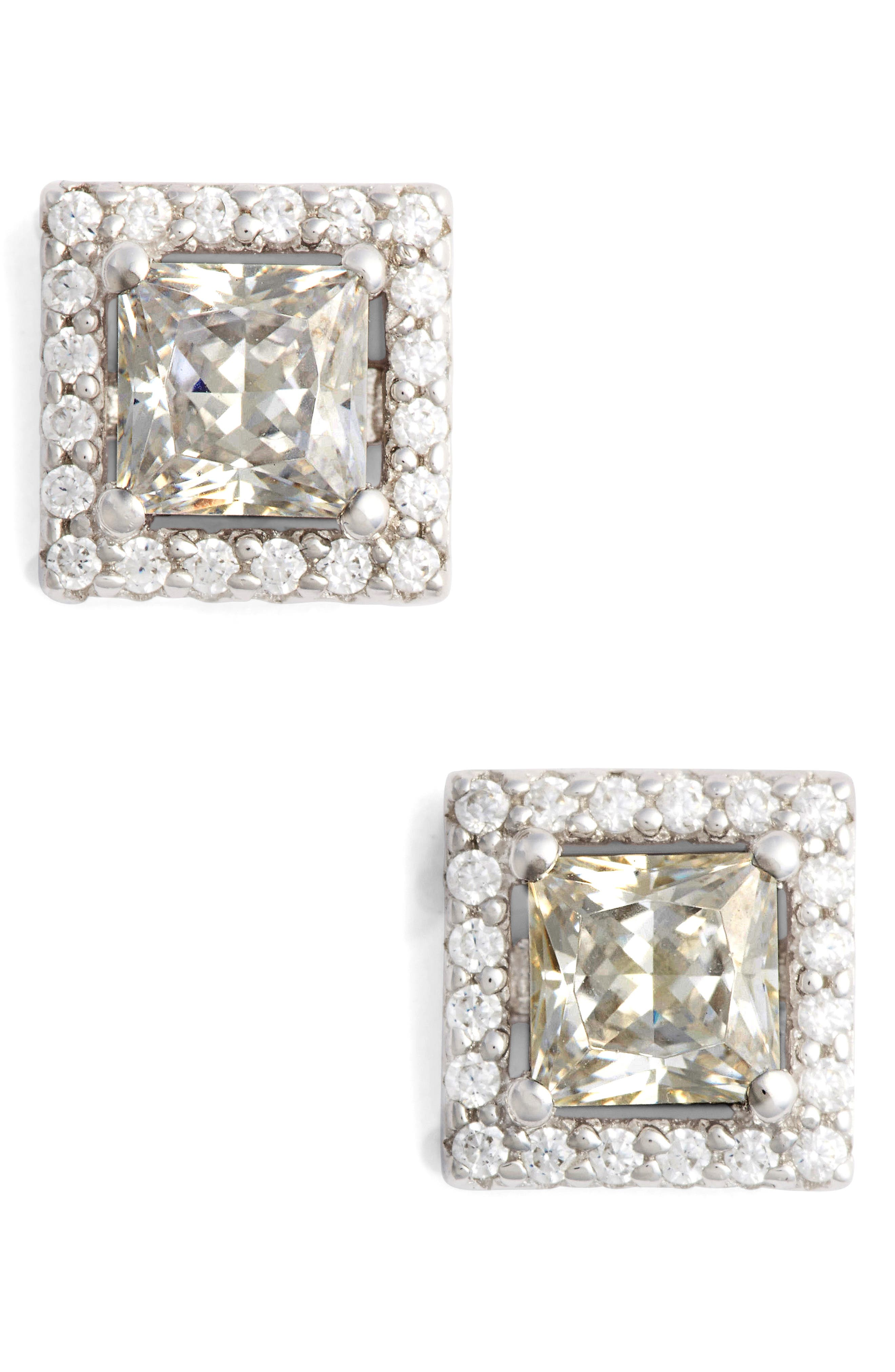 Princess Cut Simulated Diamond Stud Earrings,                         Main,                         color, SILVER/ CLEAR